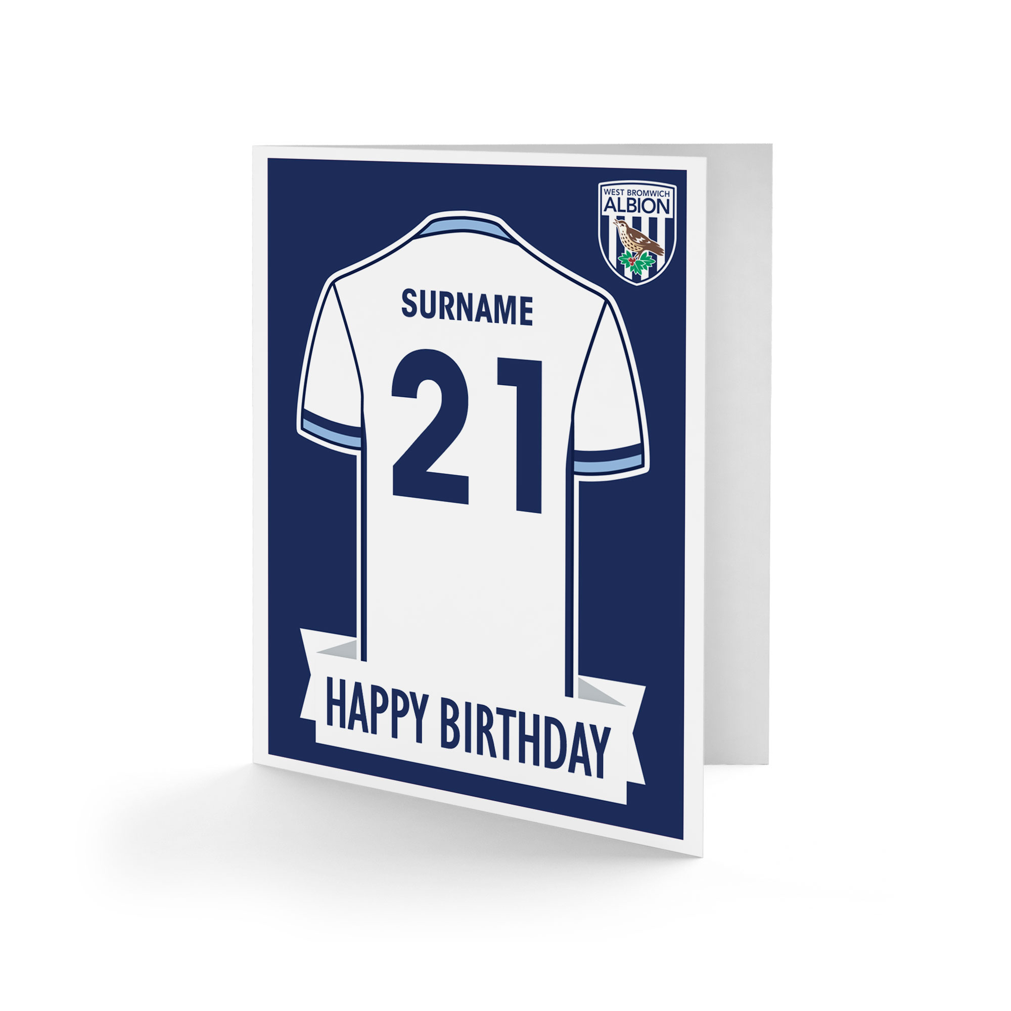 West Bromwich Albion FC Shirt Birthday Card