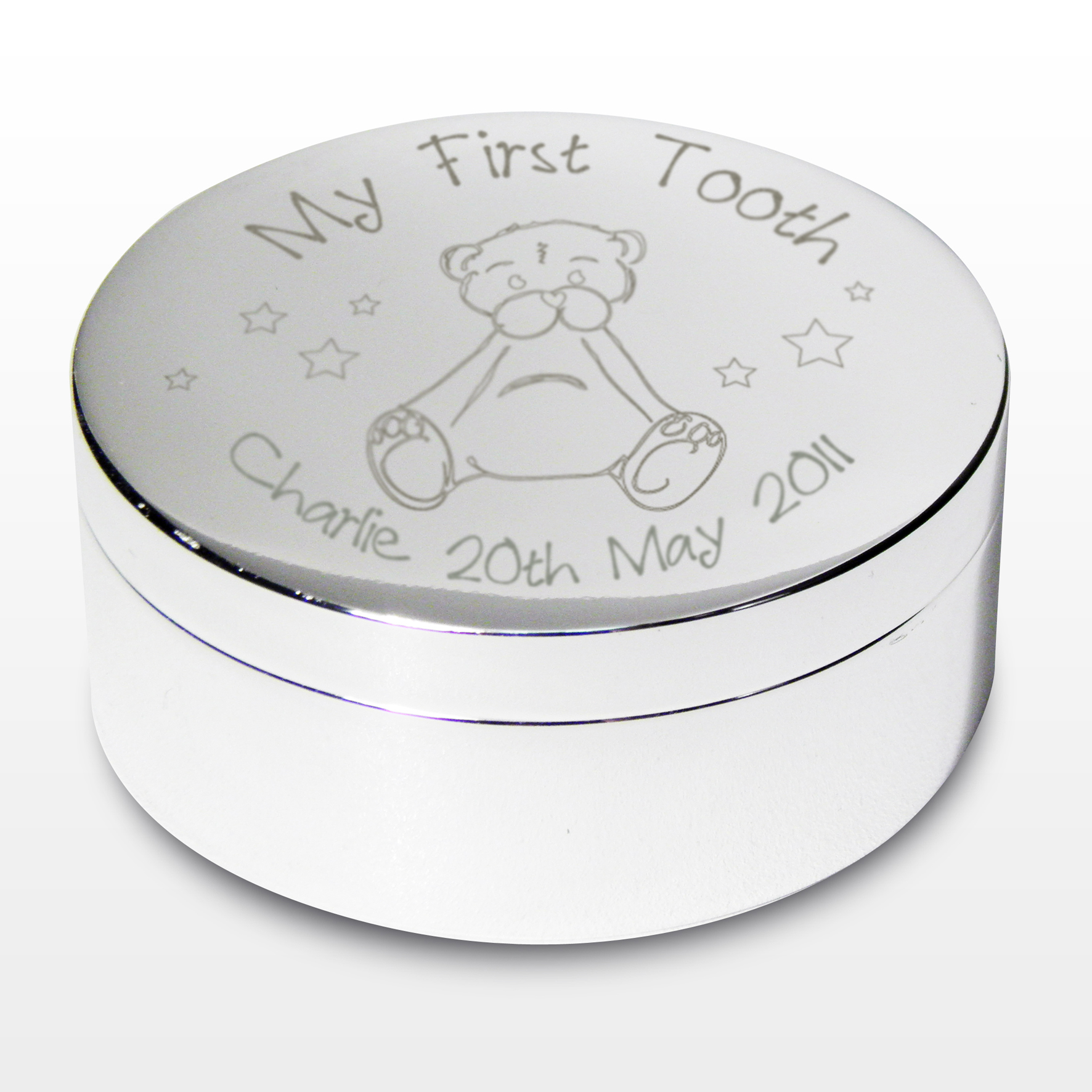 Engraved My First Tooth Teddy Trinket Box