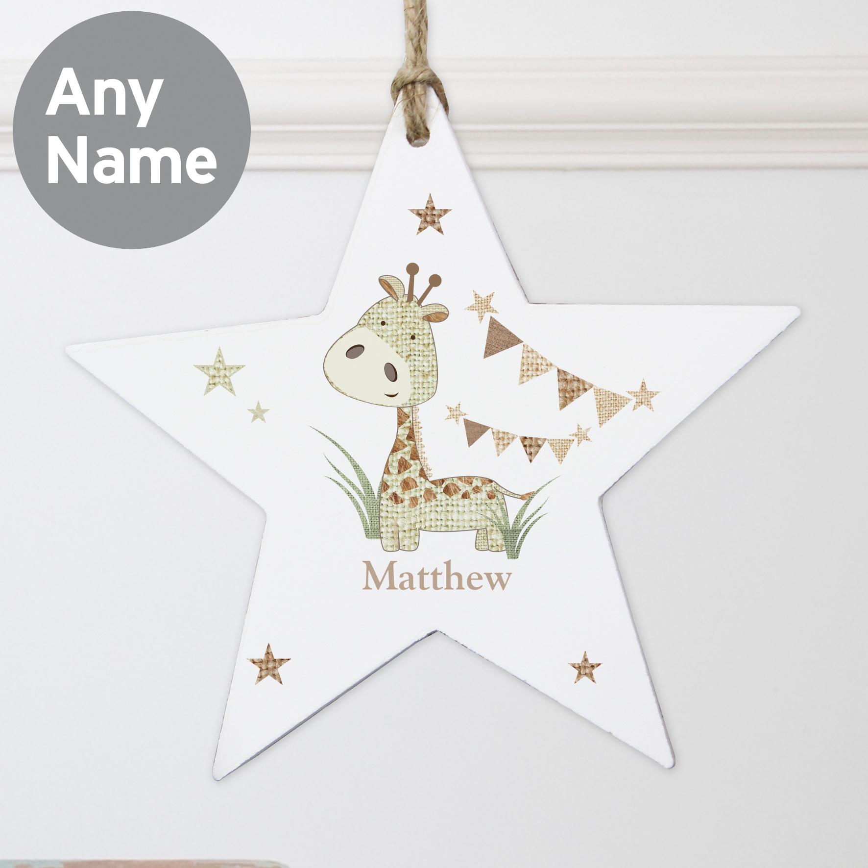 Personalised Hessian Giraffe Wooden Star Decoration