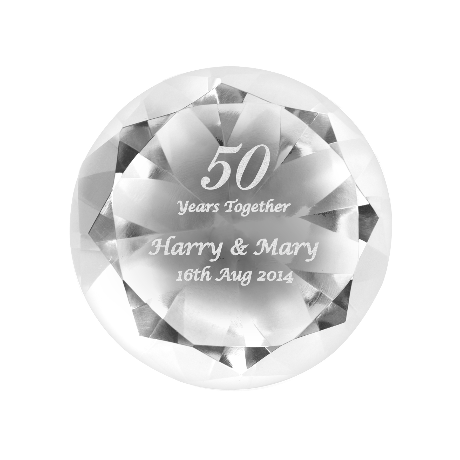 Engraved Big Numbers Diamond Paperweight