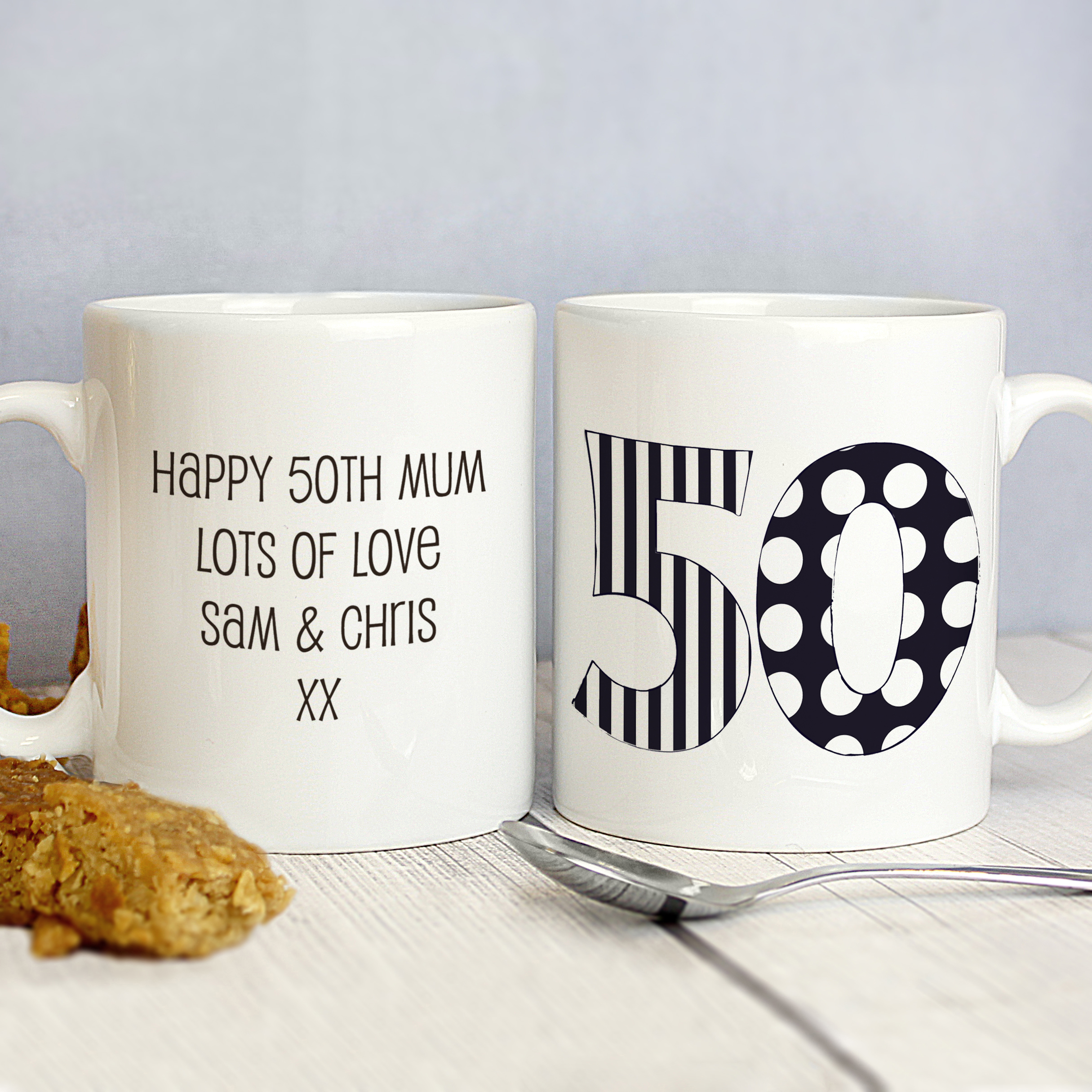 Personalised Birthday Monotone Numbers Mug