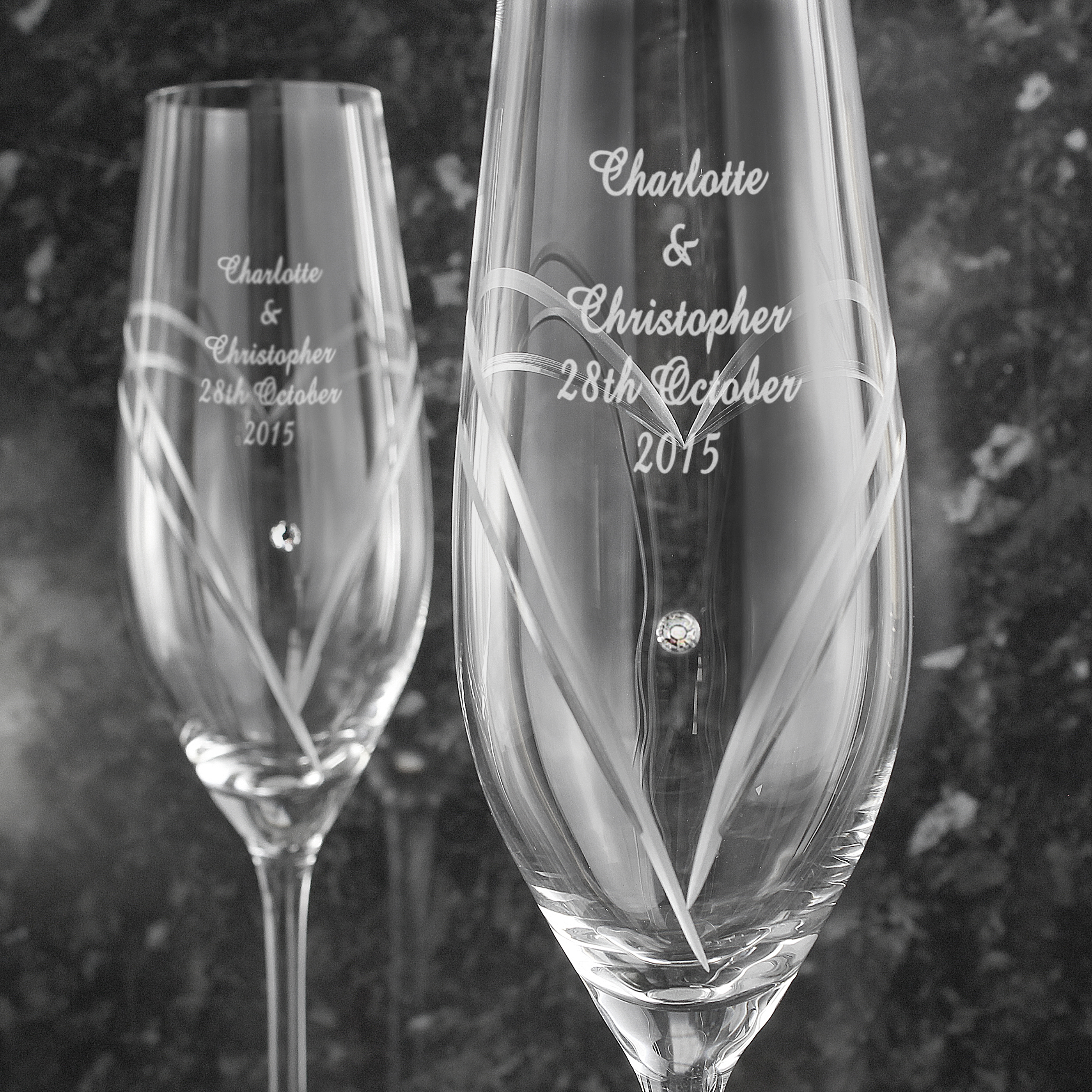 Engraved Heart Flutes with Swarovski Elements - Hand Cut