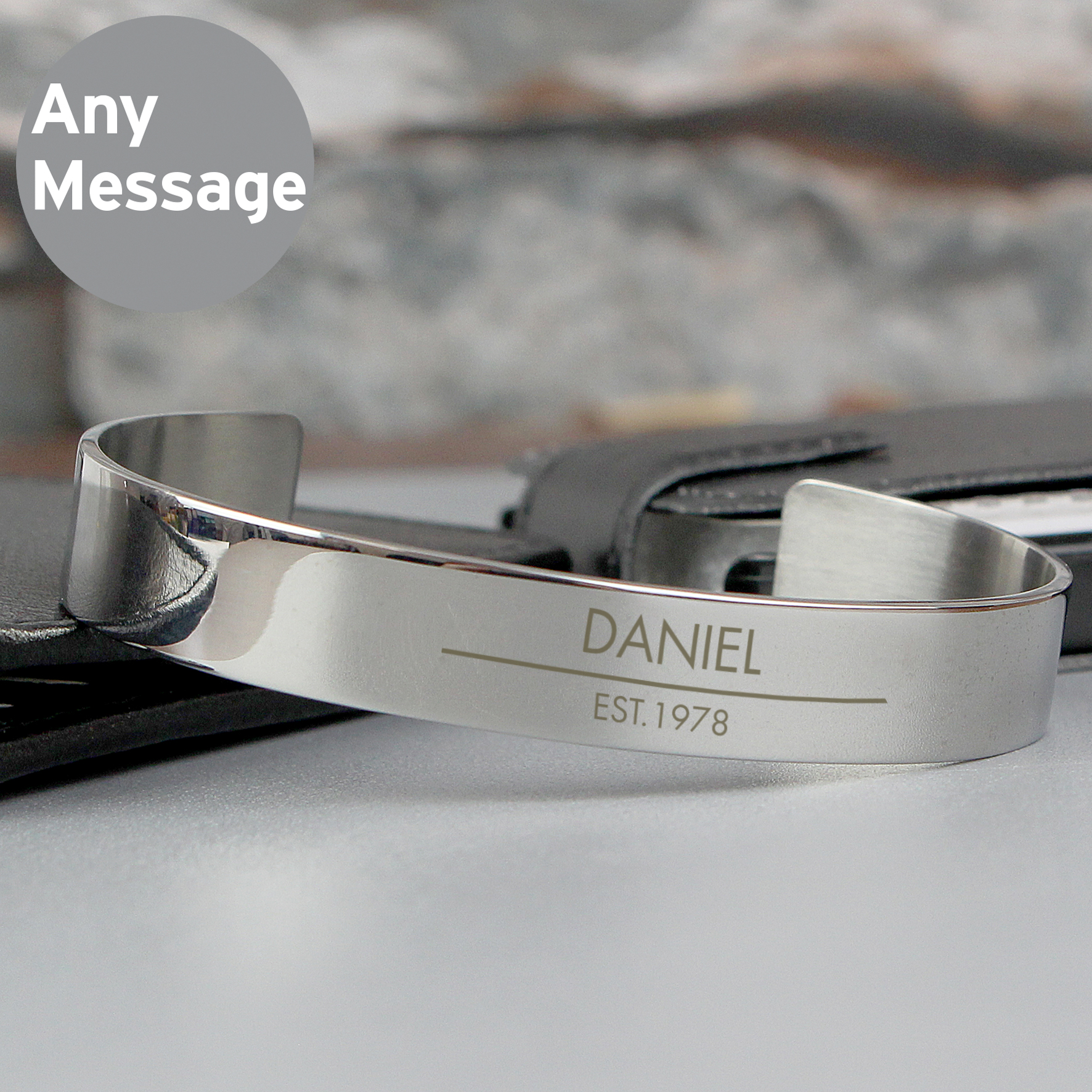 Engraved Classic Stainless Steel Bangle