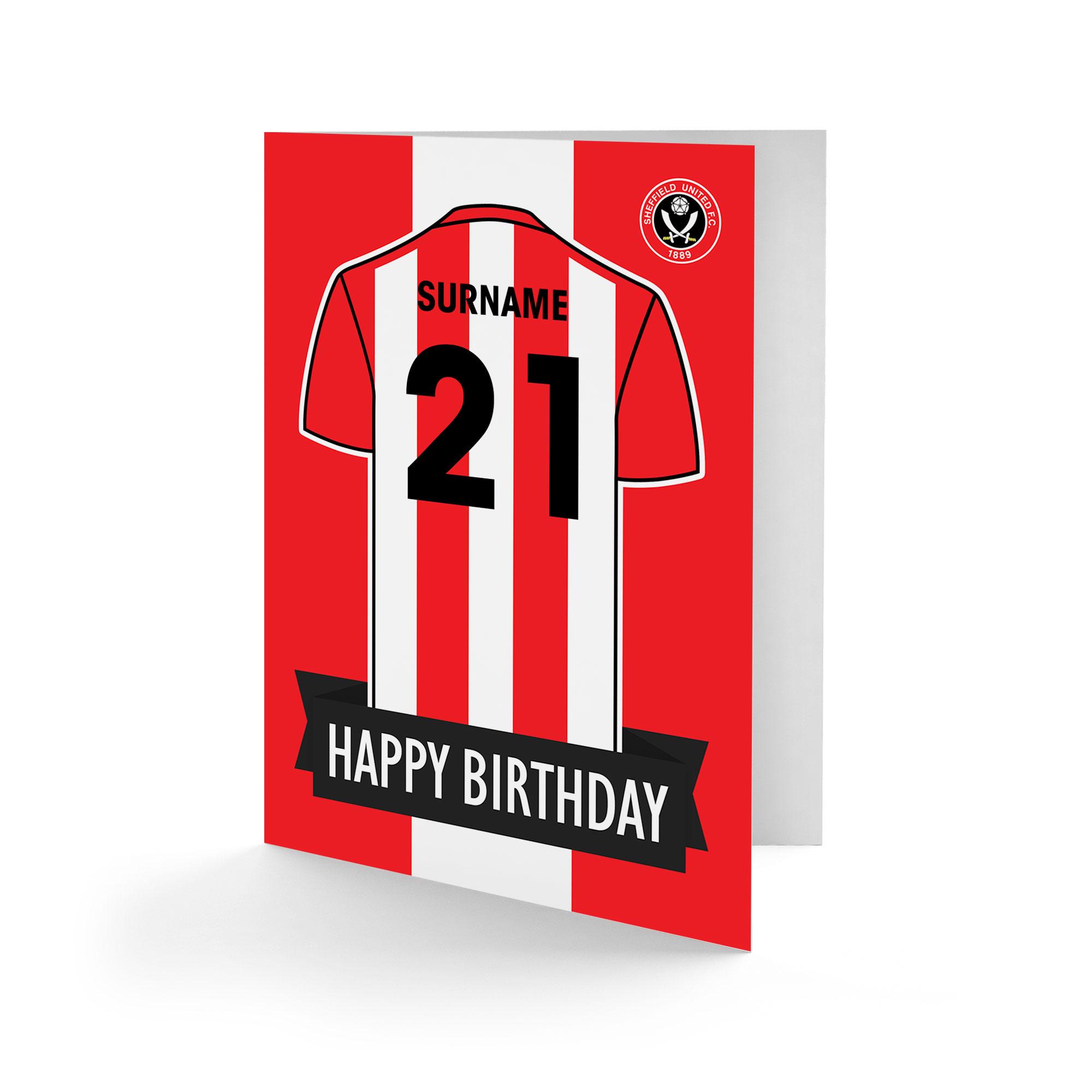 Sheffield United FC Shirt Birthday Card