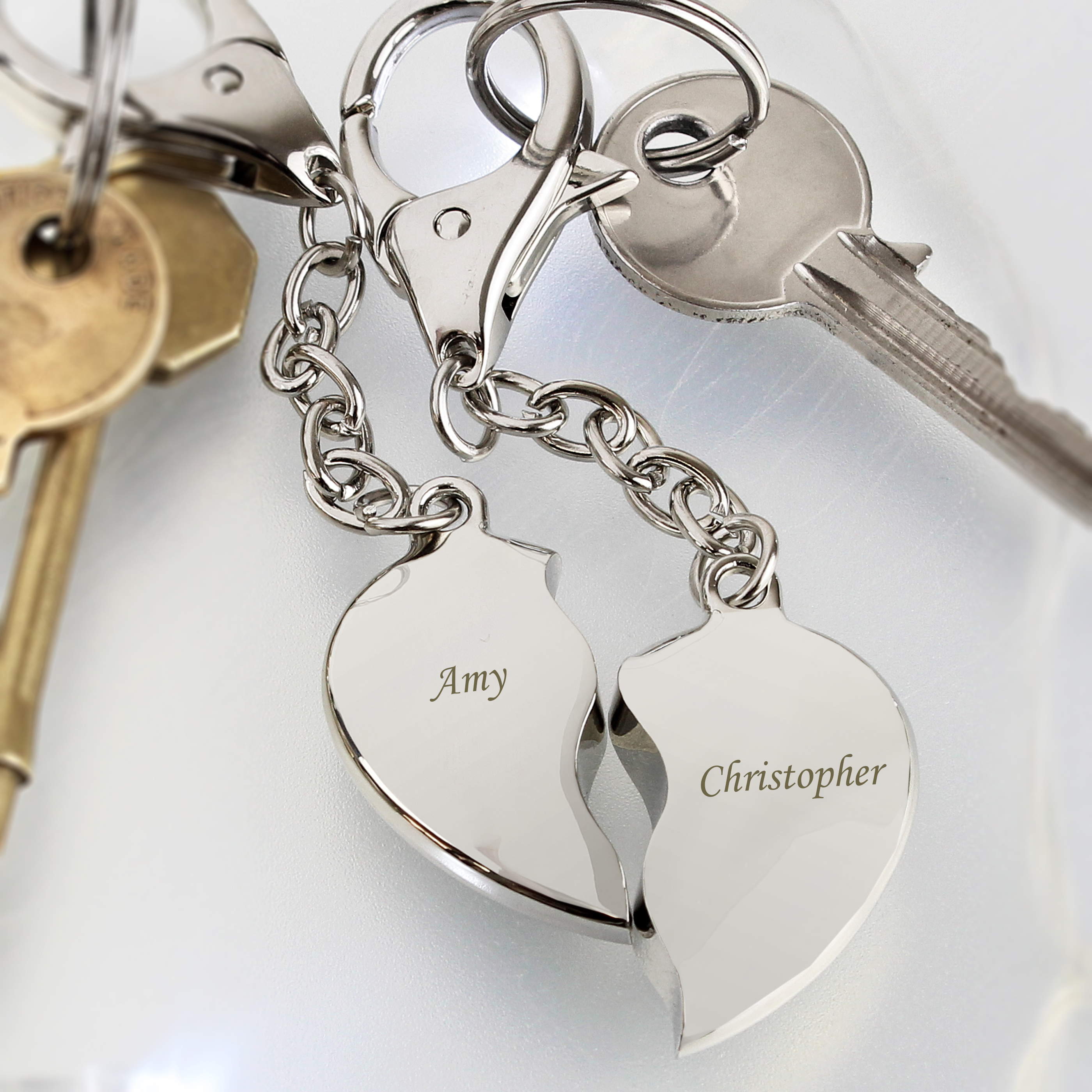 Engraved Two Hearts Keyring