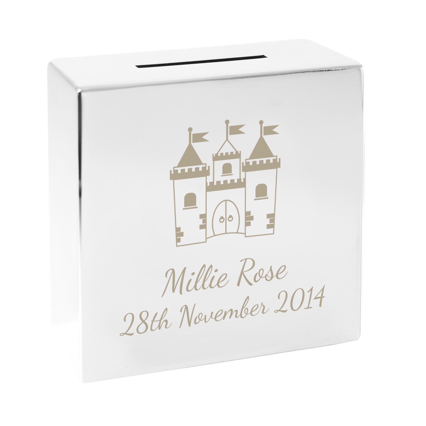 Engraved Castle Square Money Box
