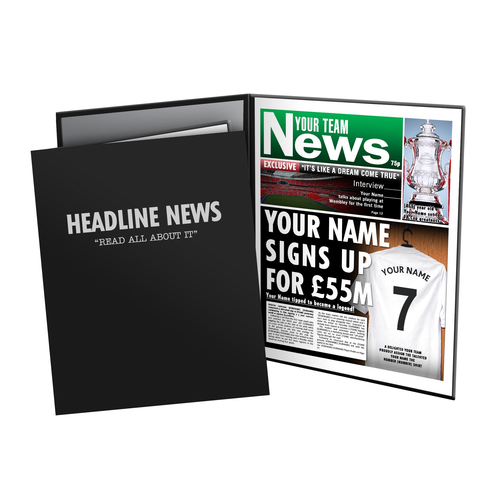 Personalised Football Newspaper Print - Presentation Folder