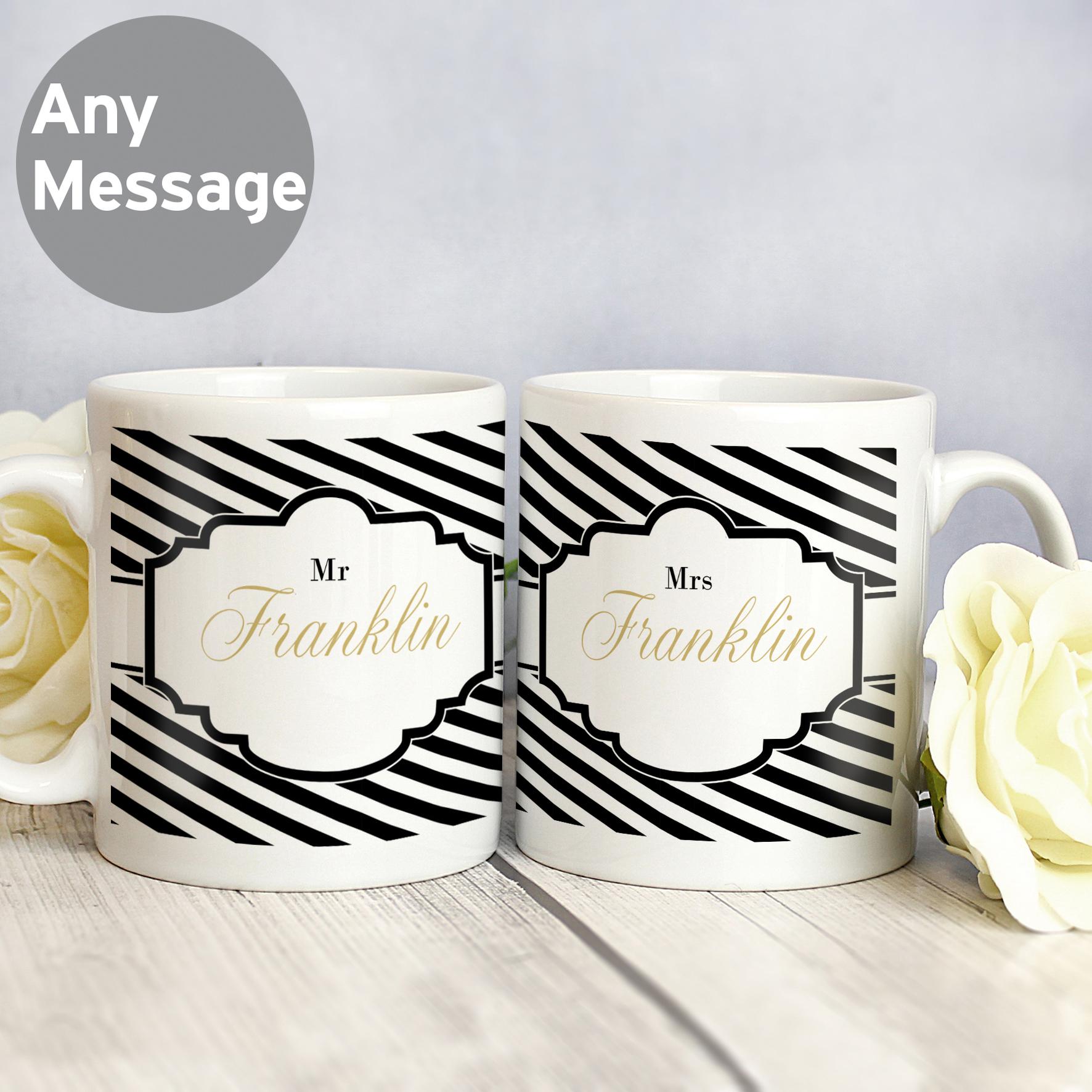 Personalised Art Deco Striped Mug Set