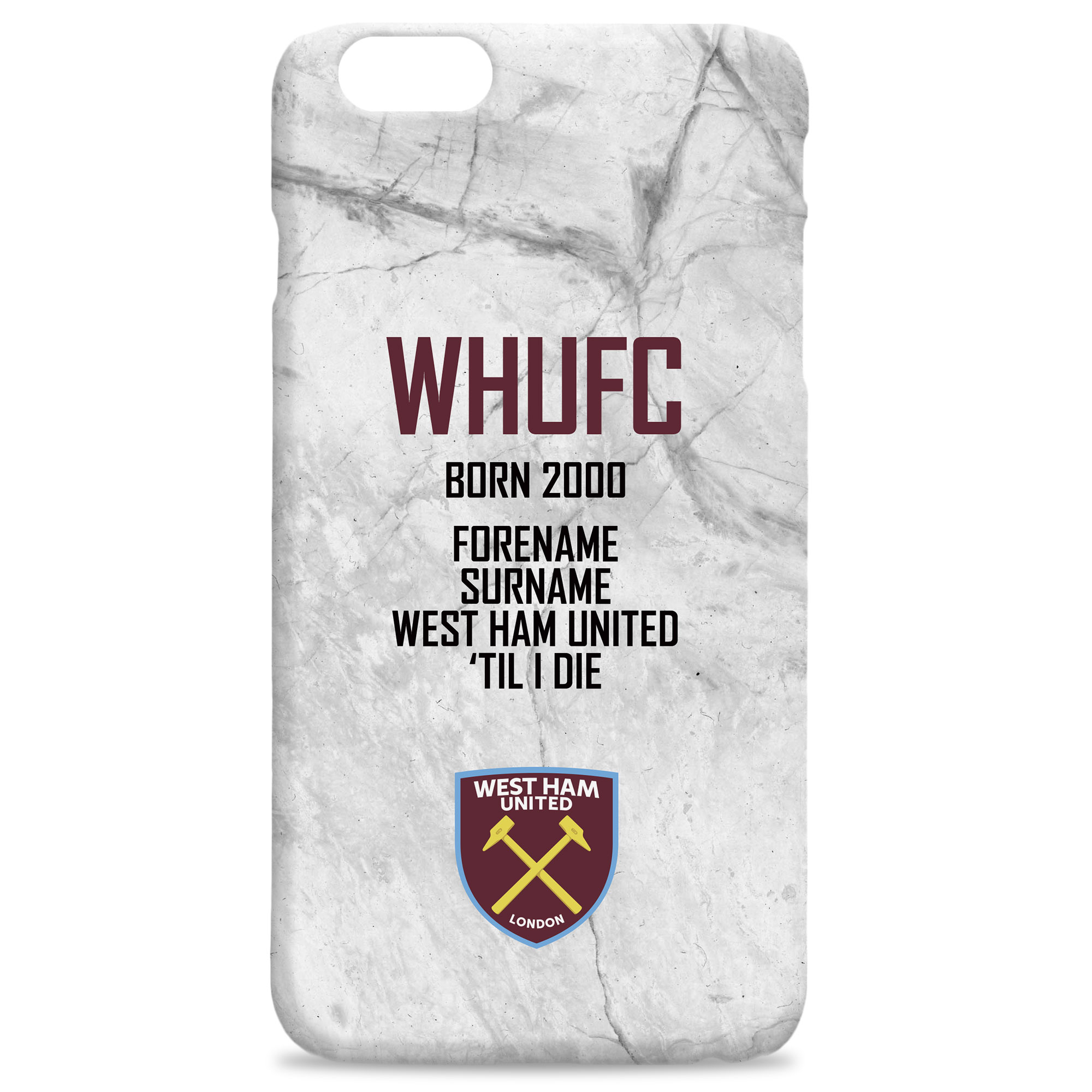 SHIRT West Ham United F.C Personalised Hard Back Phone Cover
