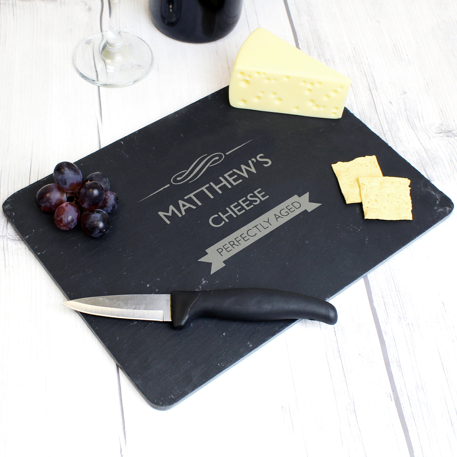 Engraved Perfectly Aged Slate Cheeseboard