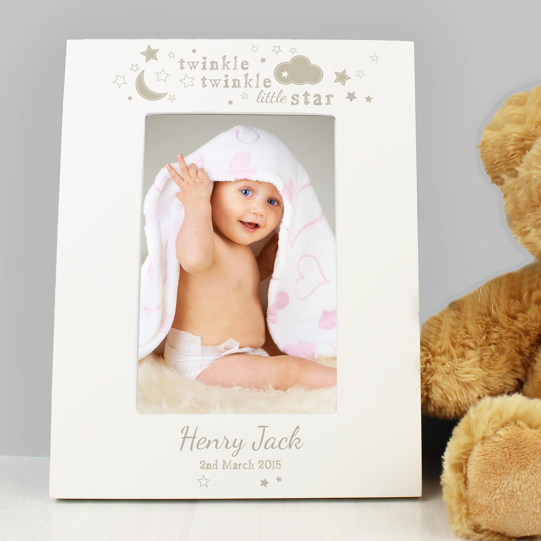 Personalised Twinkle Twinkle 6x4 White Wooden Frame