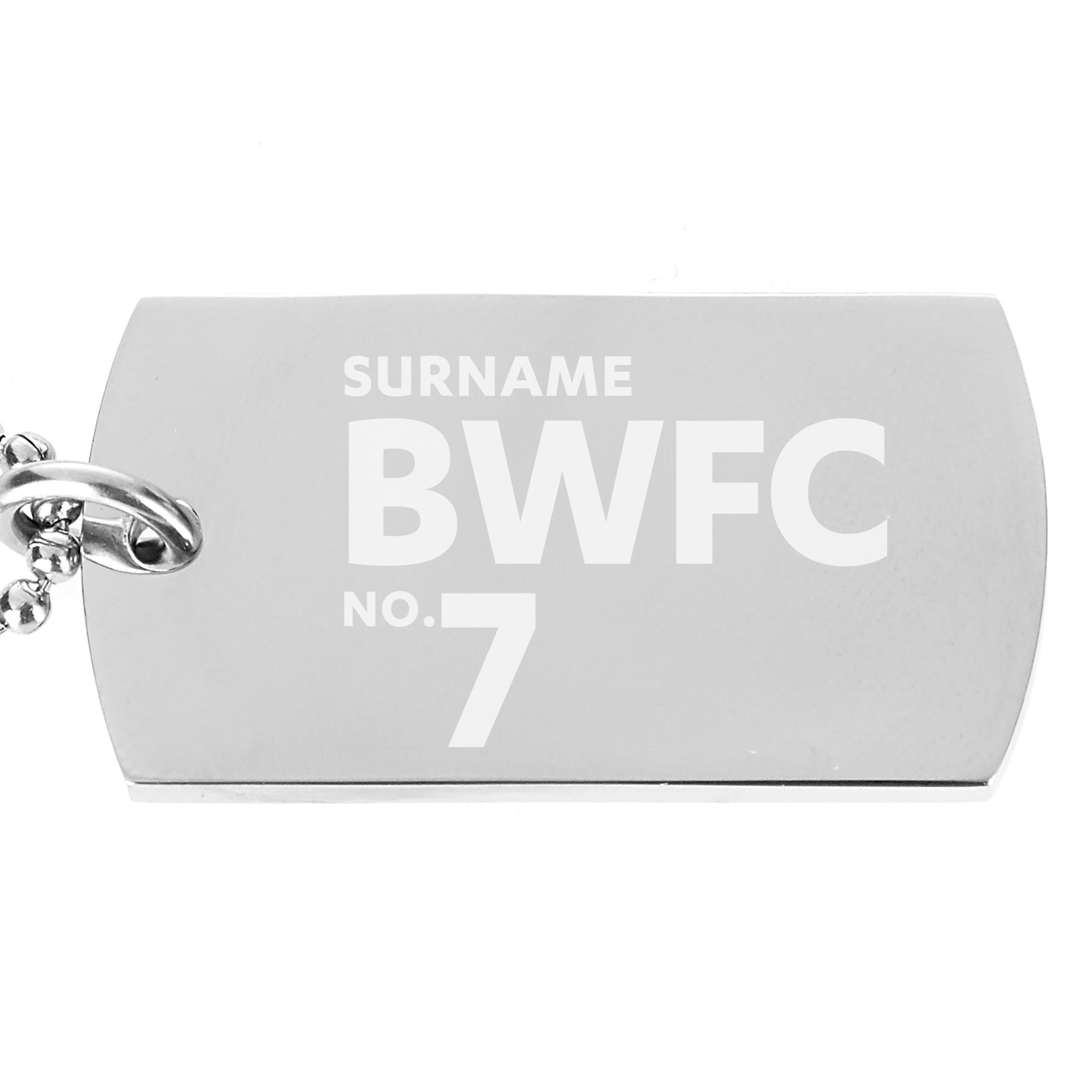 Bolton Wanderers FC Number Dog Tag Pendant