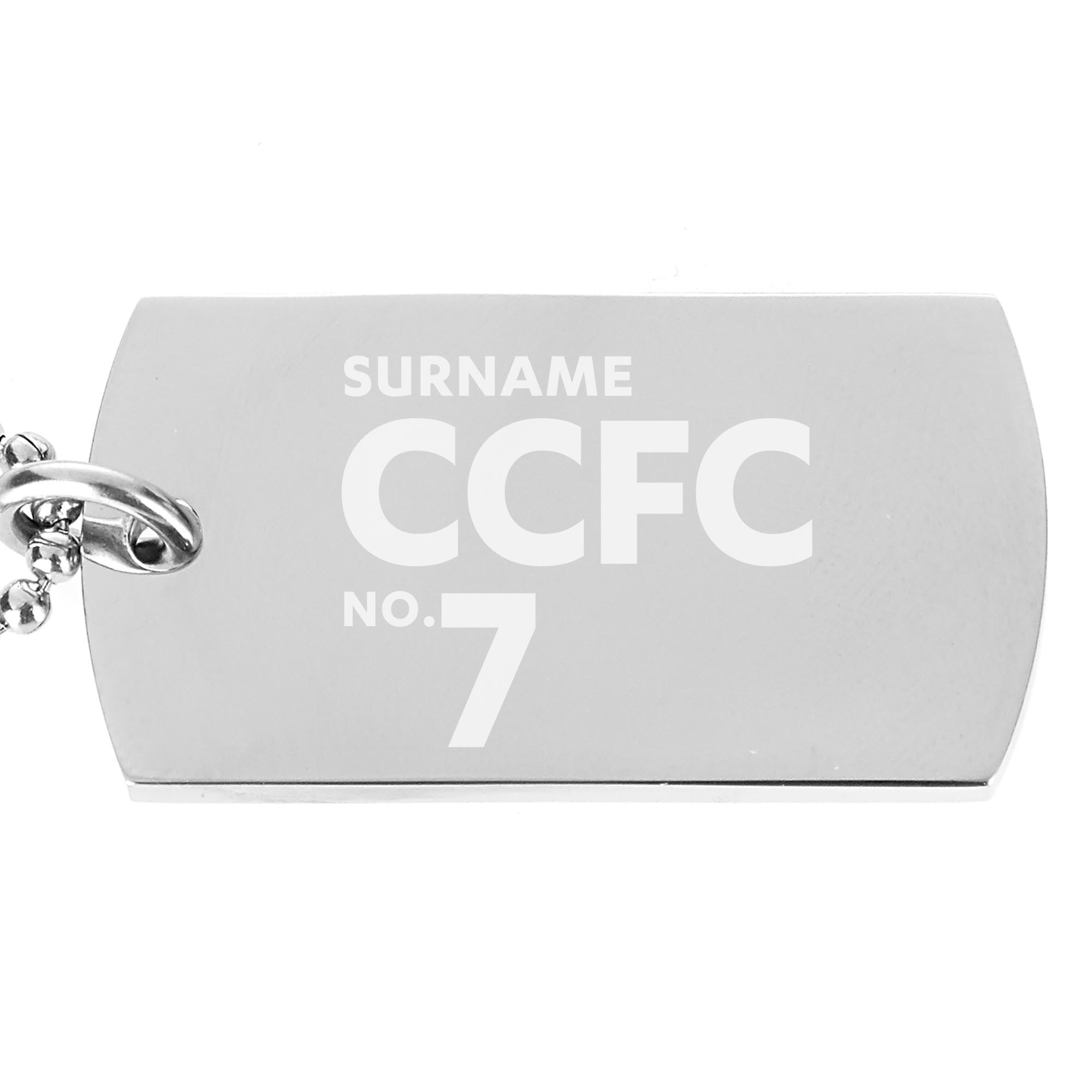 Cardiff City FC Number Dog Tag Pendant