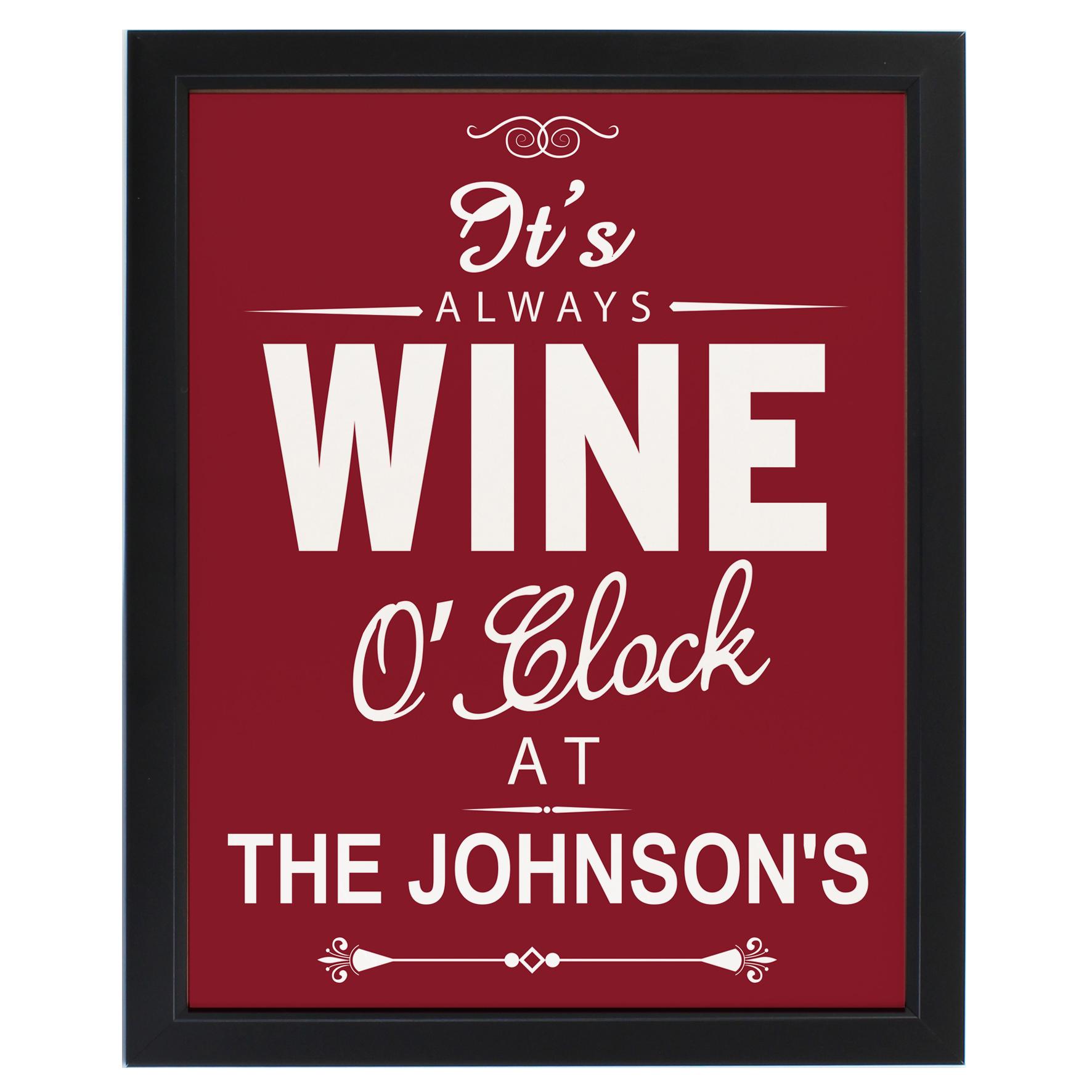 Personalised Wine OClock Framed Print