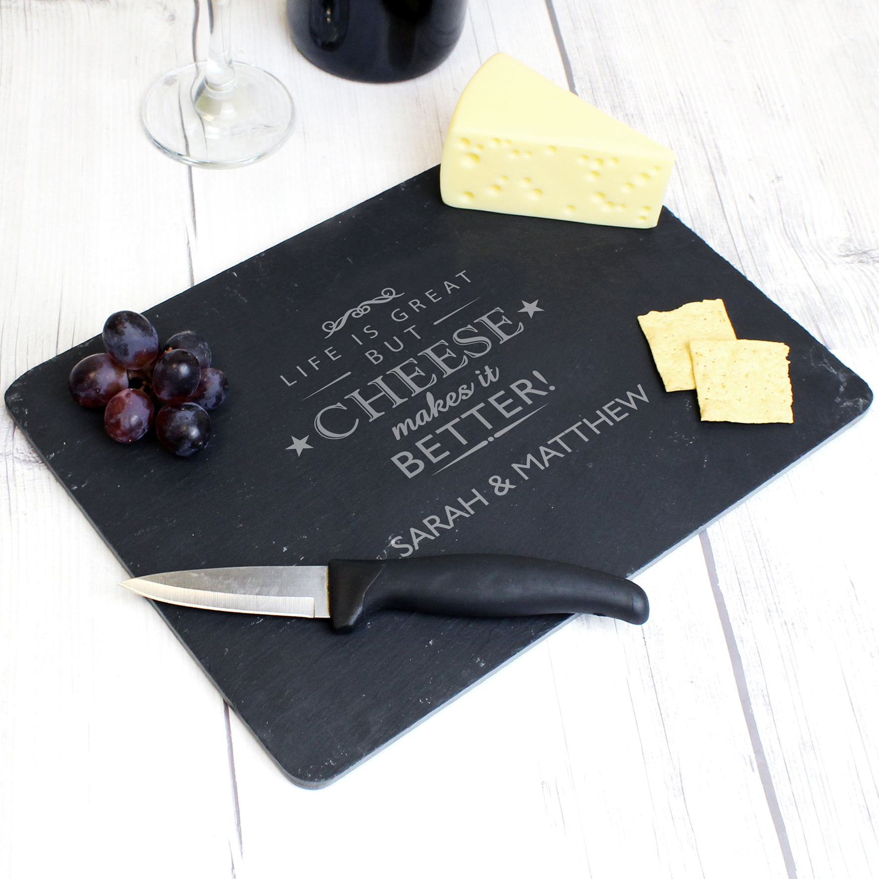 Engraved Cheese Makes Life Better... Slate Cheeseboard