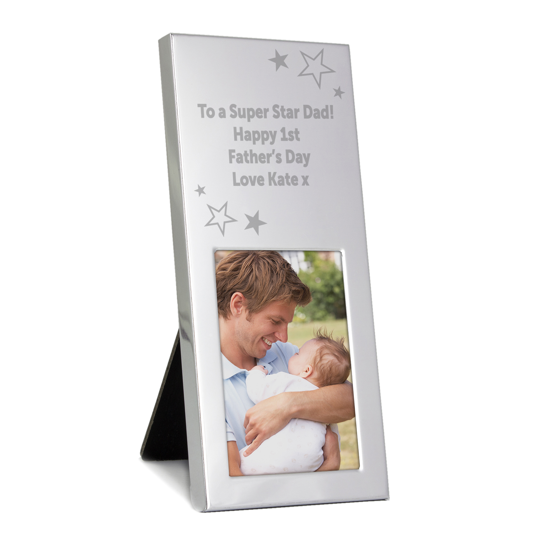 Engraved Stars Small Silver 2x3 Frame