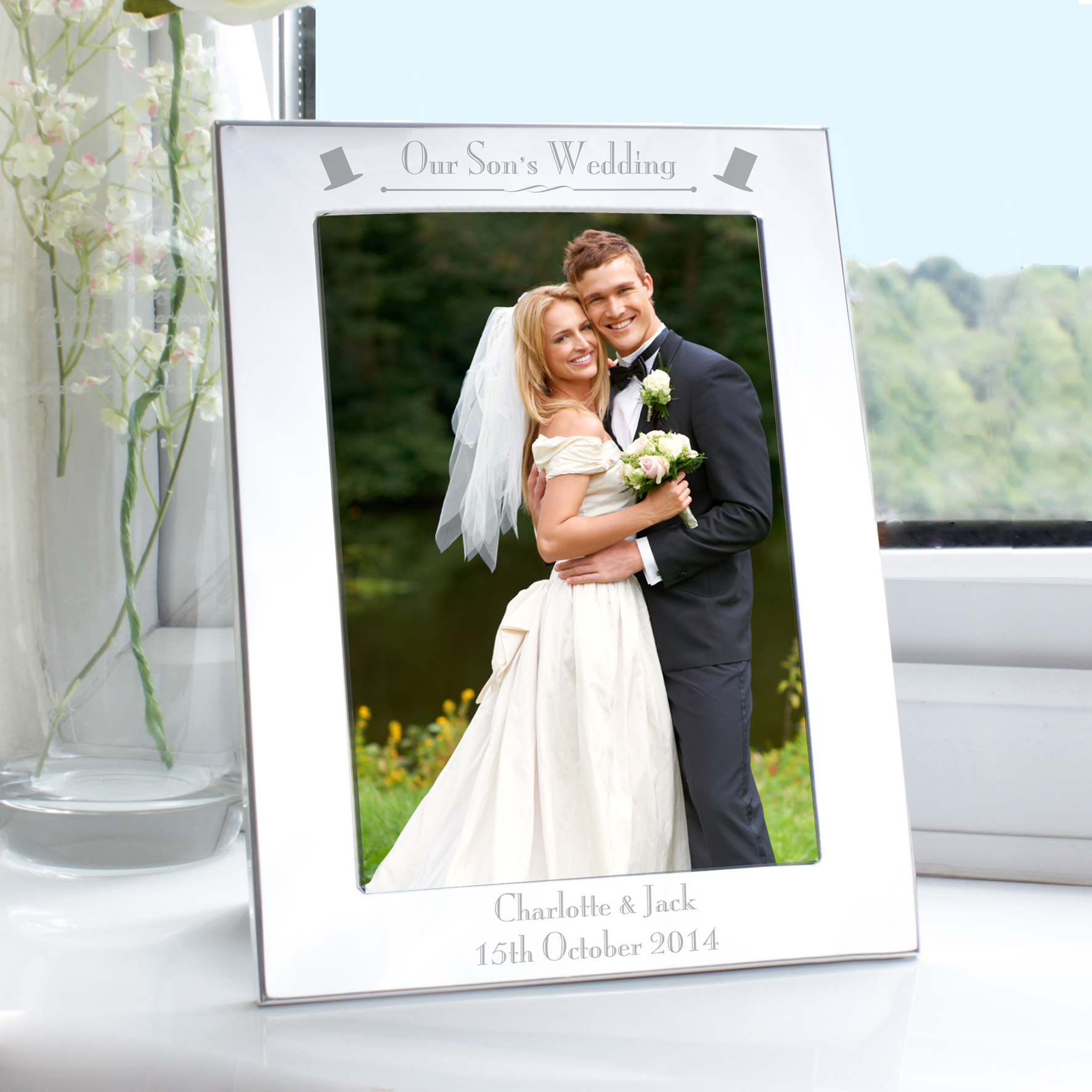Engraved Silver Decorative Design Our Son's Wedding Frame