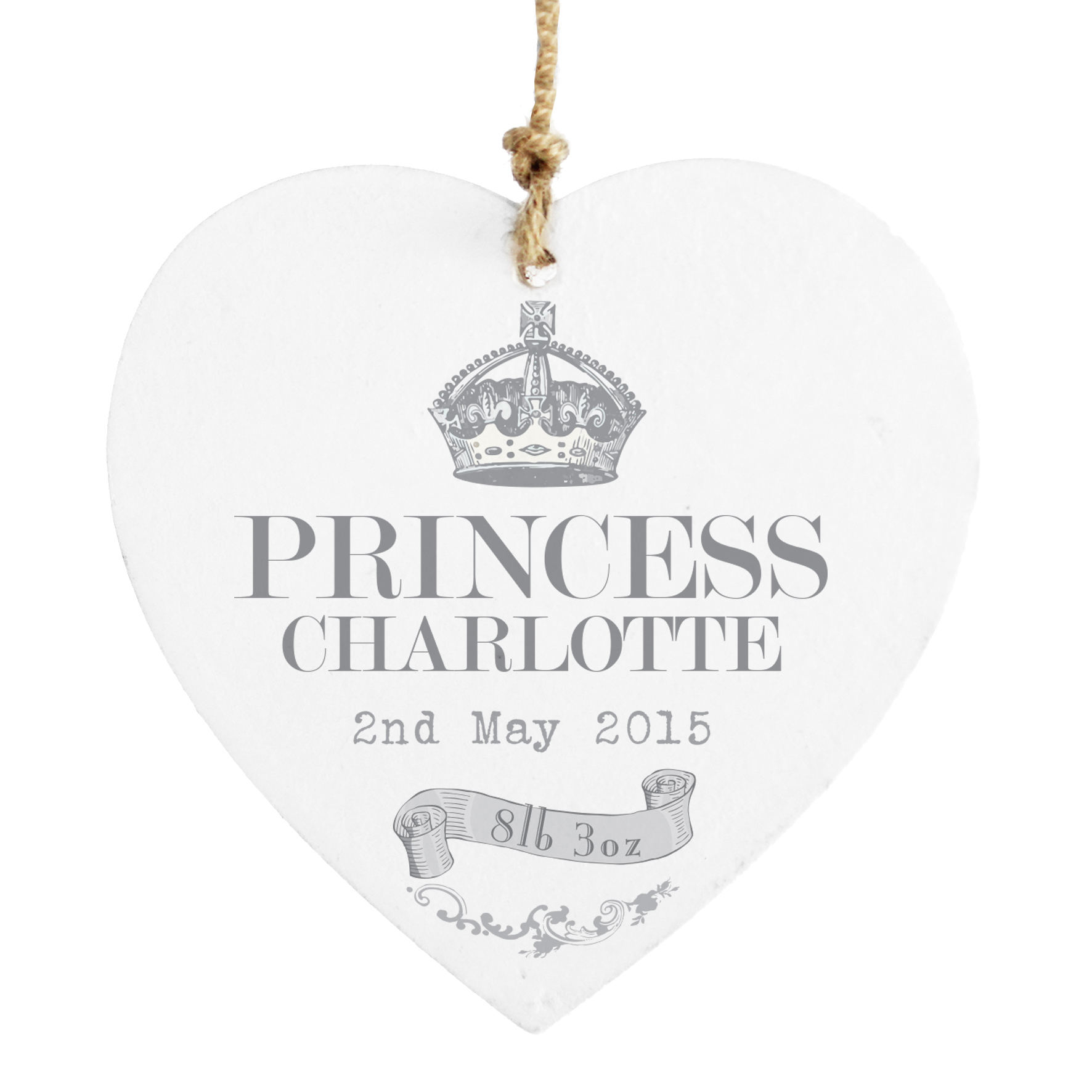 Personalised Royal Crown Wooden Heart Decoration