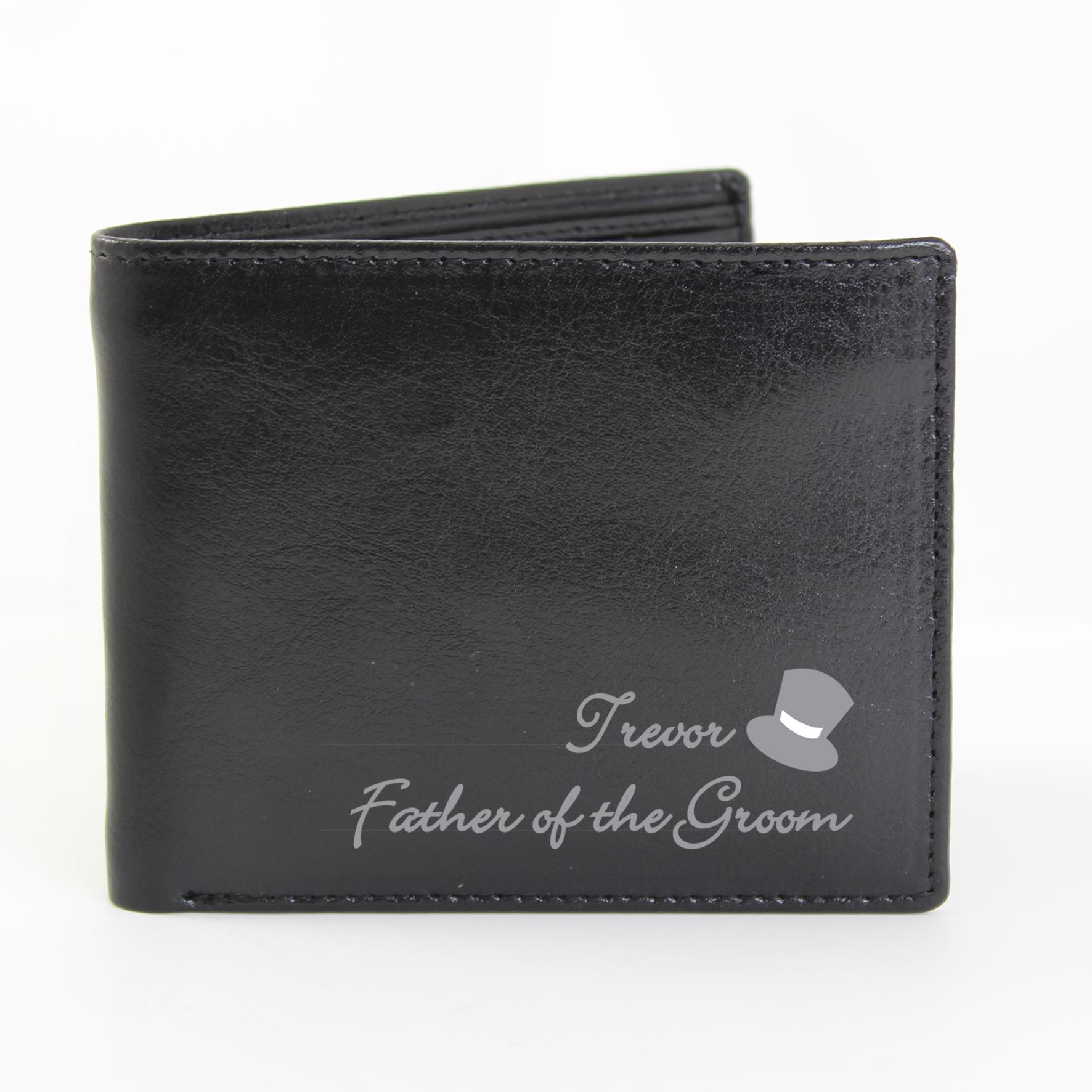 Personalised Wedding Top Hat Leather Wallet