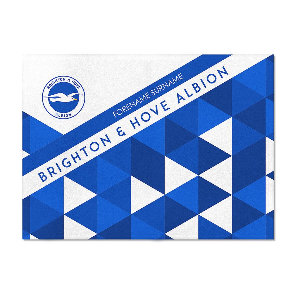 Brighton & Hove Albion FC Patterned Blanket (100cm X 75cm)