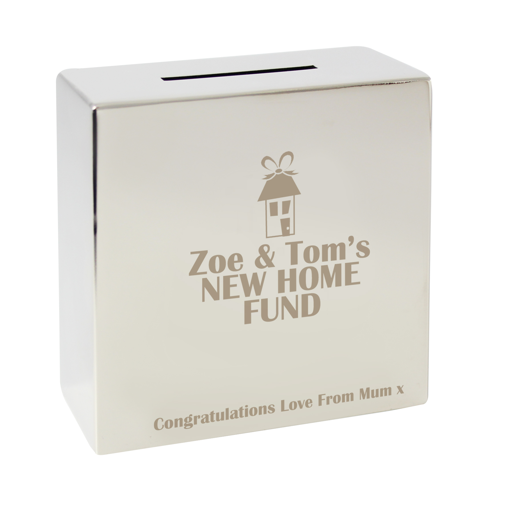Engraved House Square Money Box