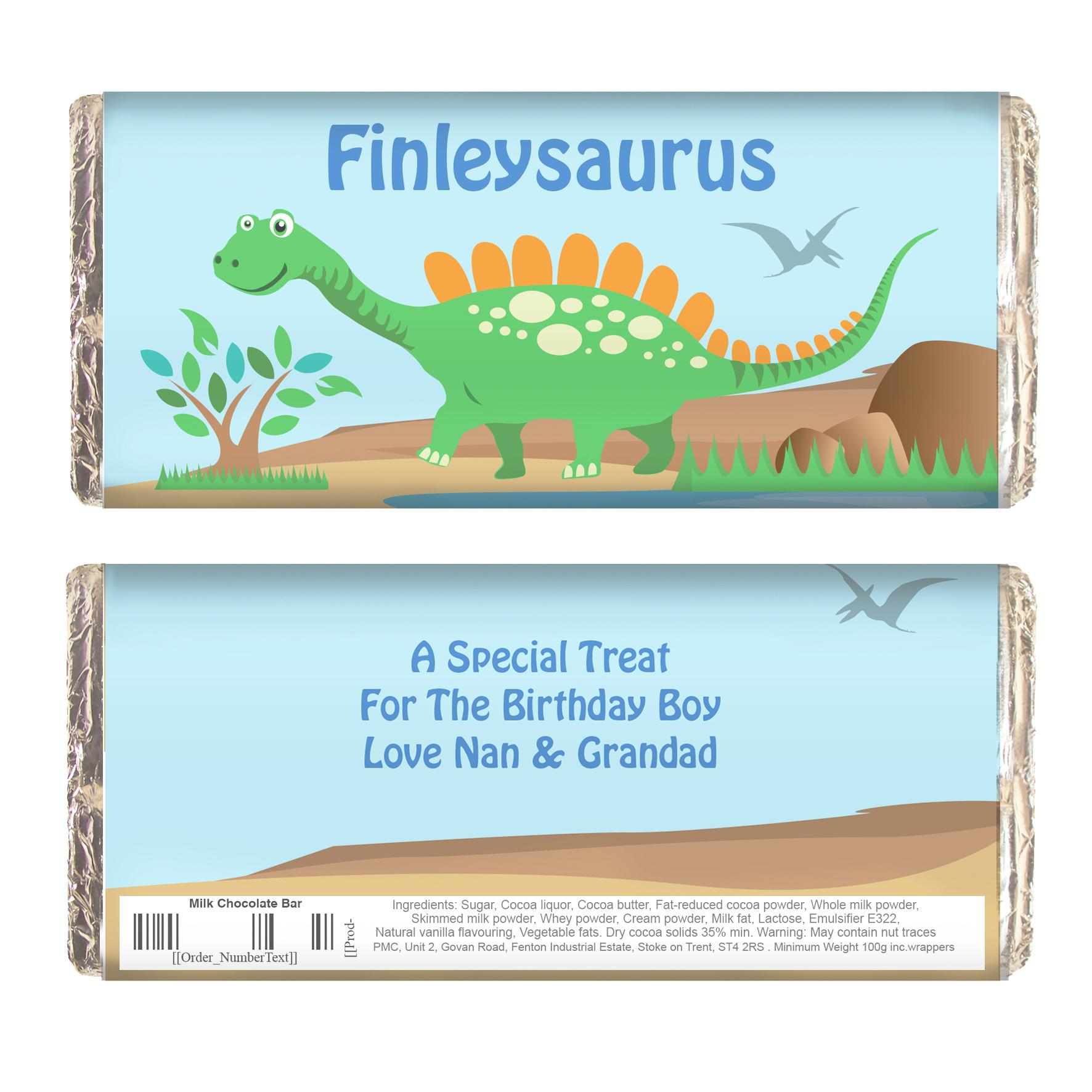 Personalised Dinosaur Milk Chocolate Bar