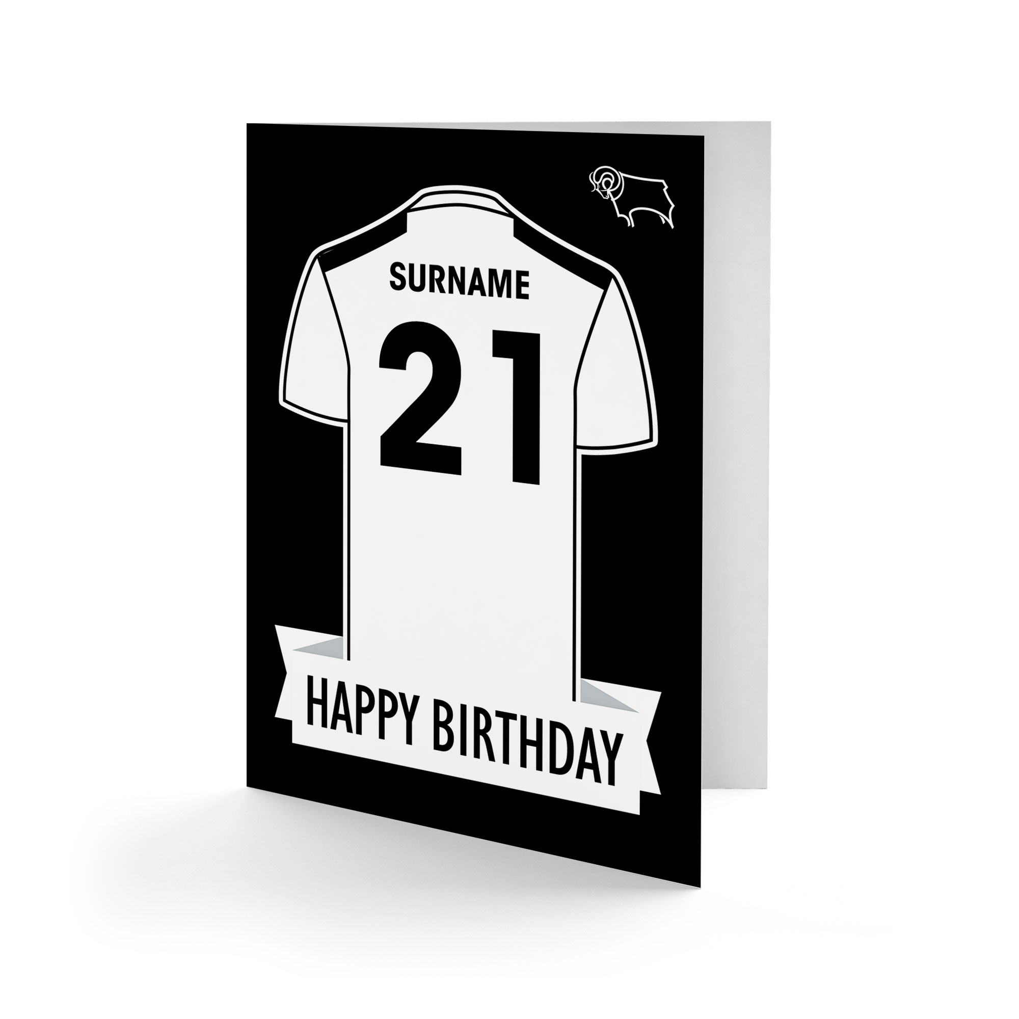 Derby County Shirt Birthday Card