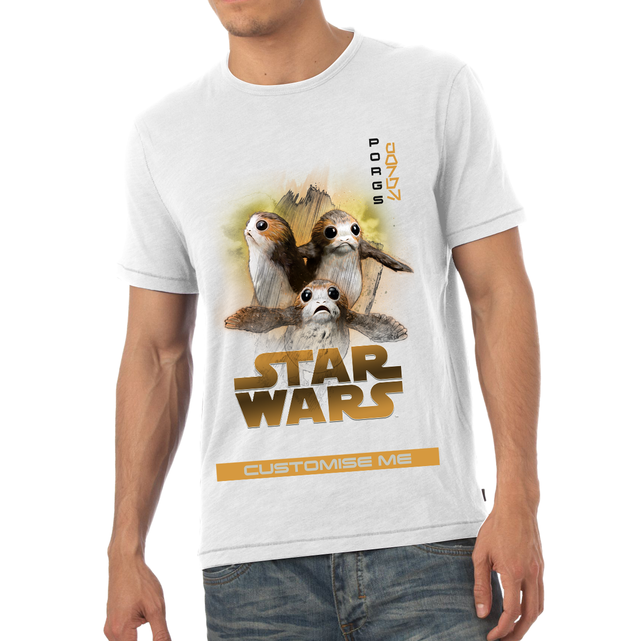 Star Wars Porg Last Jedi Spray Paint Mens T-shirt
