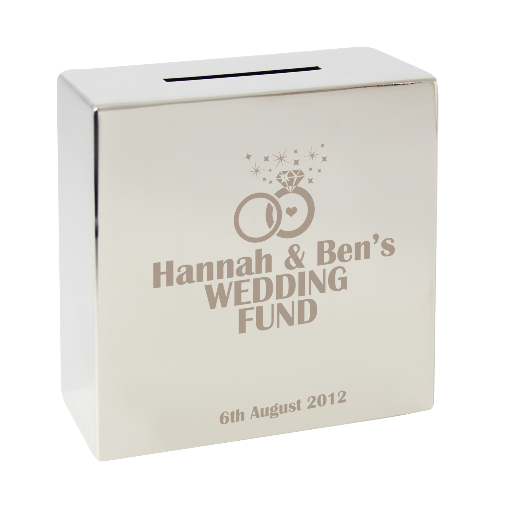 Engraved Rings Square Money Box