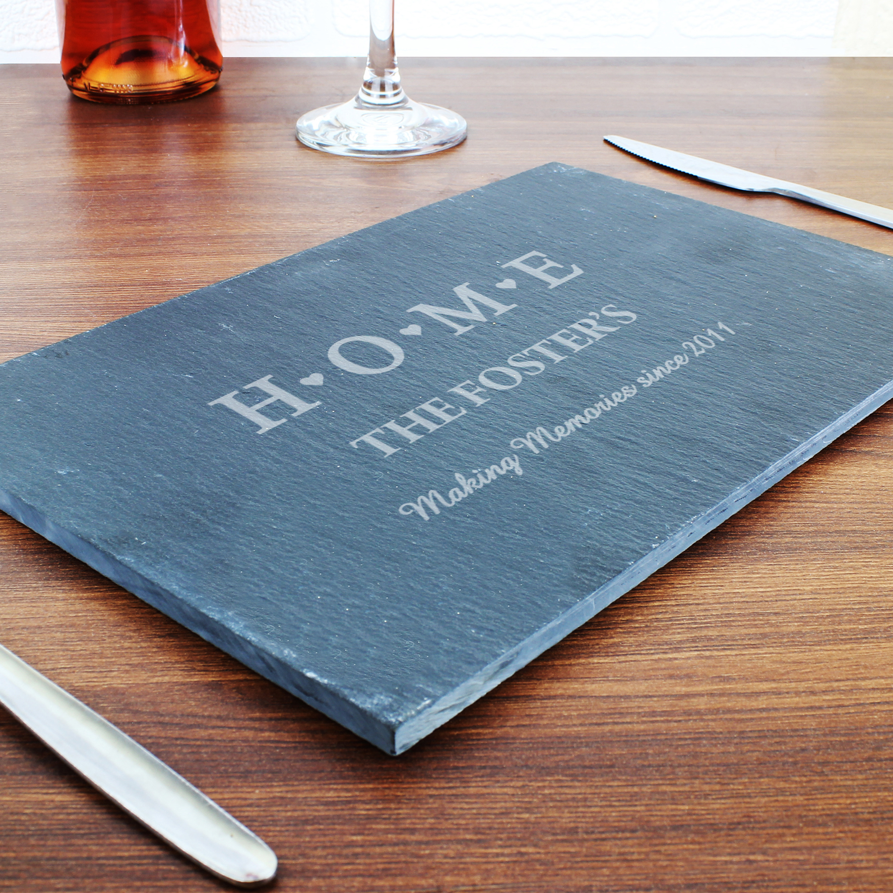 Engraved HOME Slate Rectangle Placemat