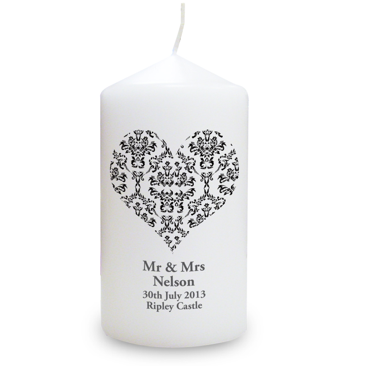 Personalised Damask Heart Candle - Black Design