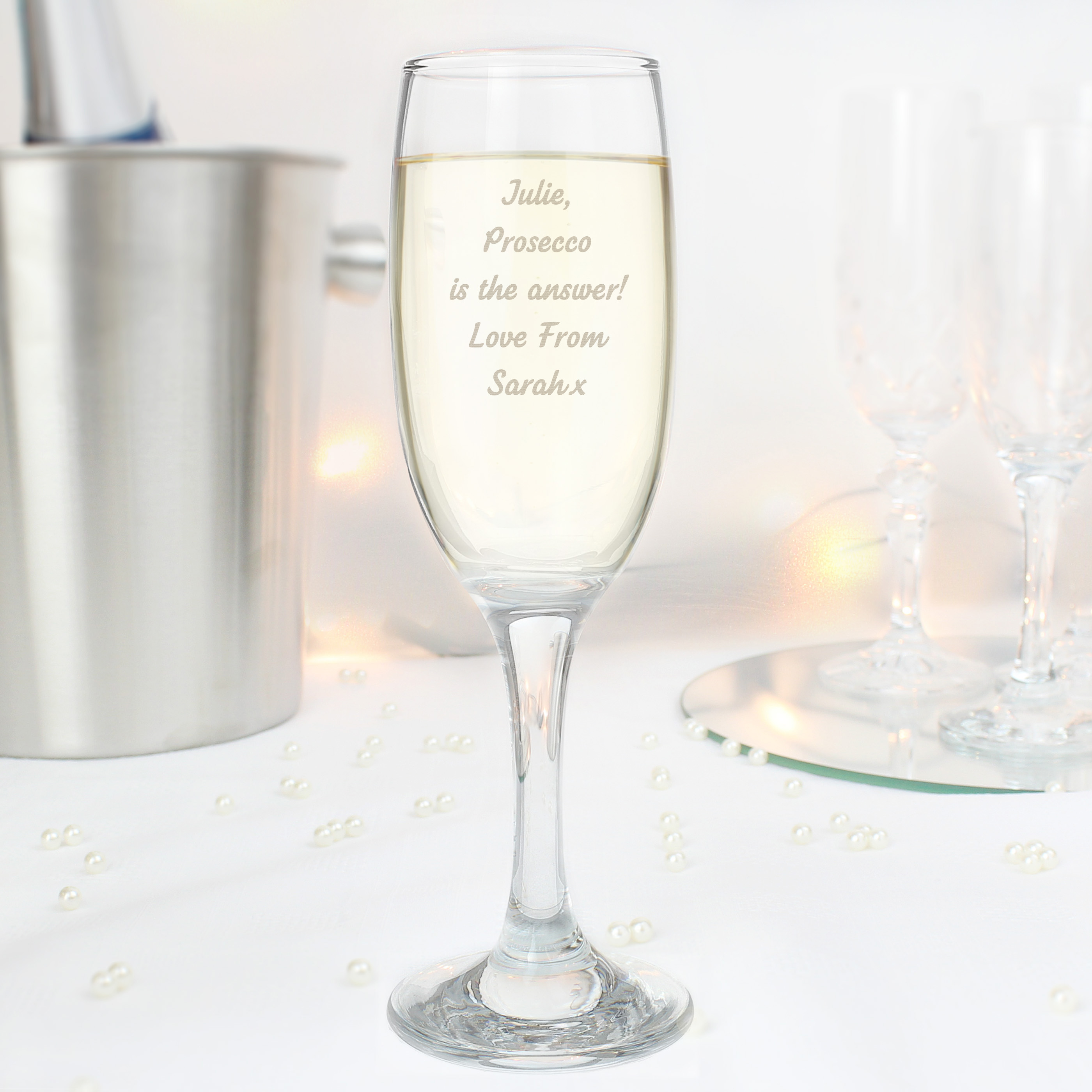 Engraved Any Message Prosecco Flute