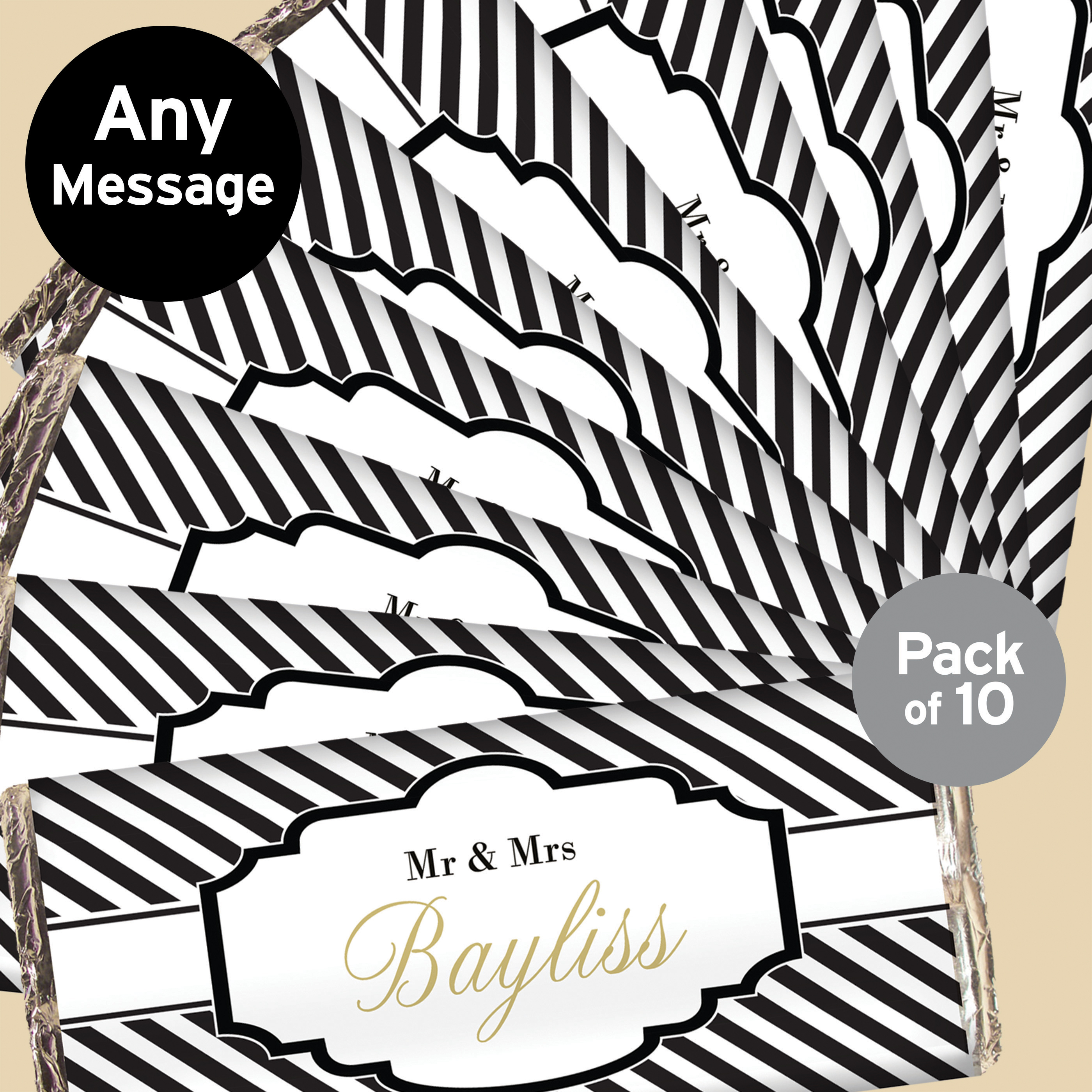 Personalised Art Deco Striped Pack of 10 Chocolate Bar