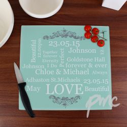 Typography Glass Chopping Board