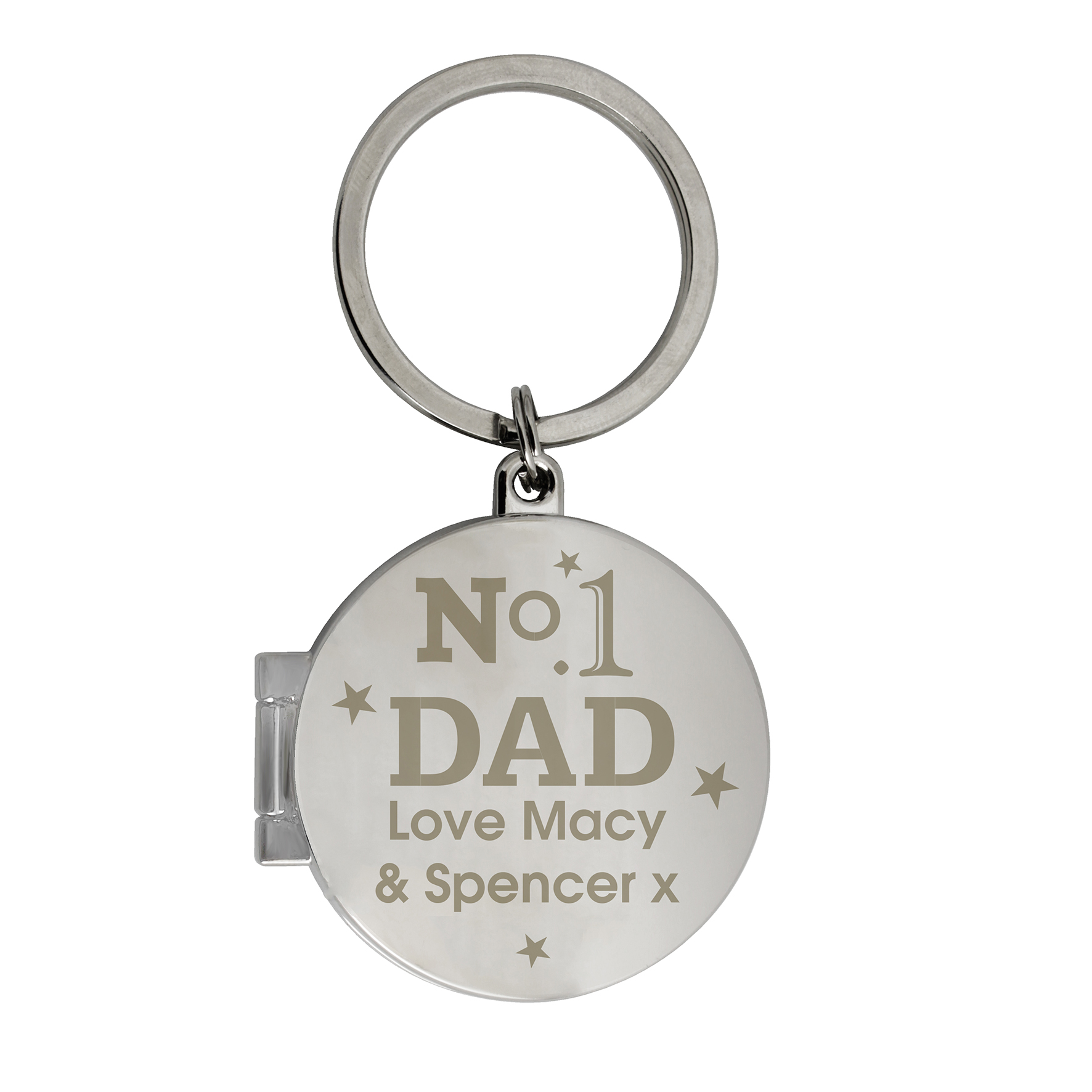 Engraved No1 Dad Photo Key Ring