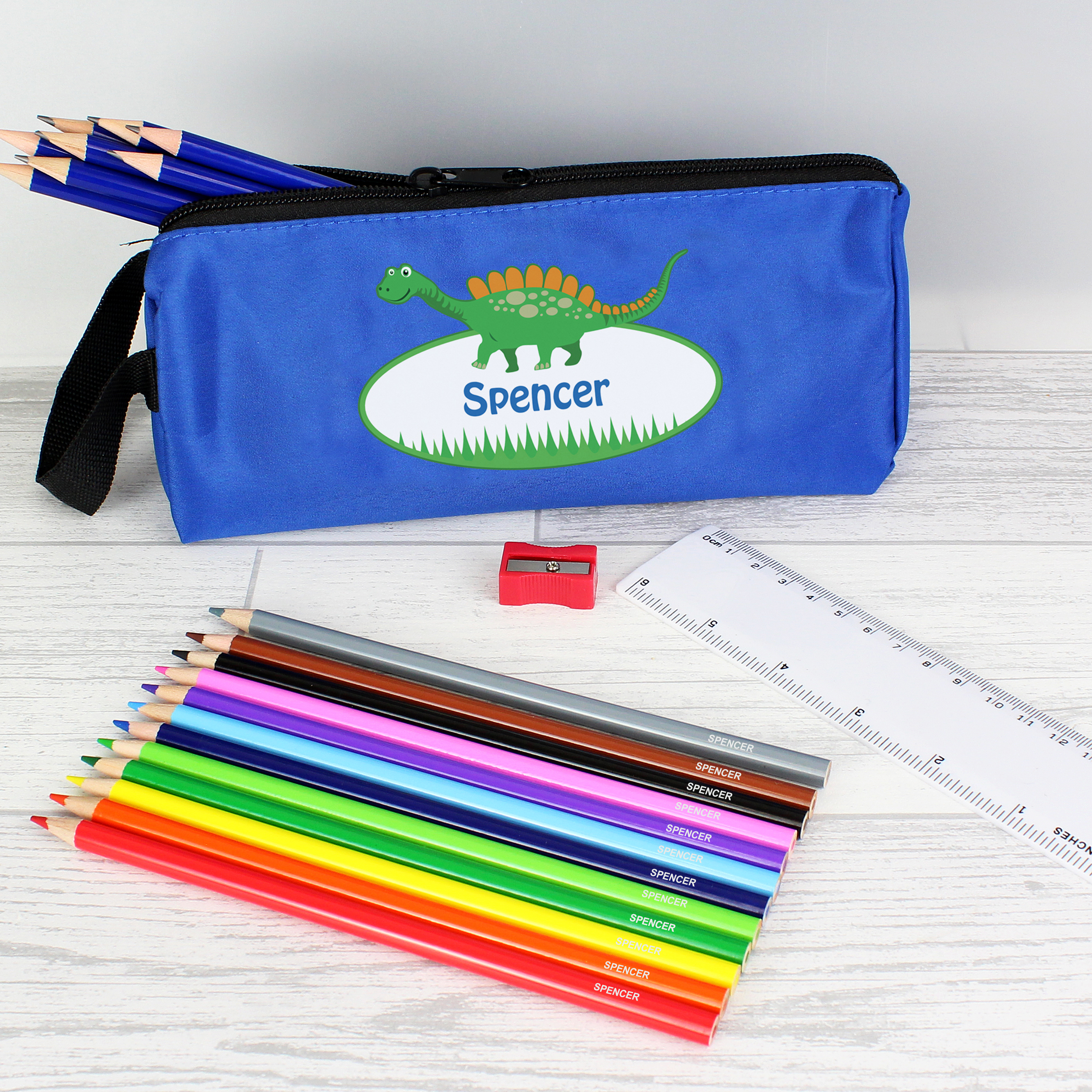 Personalised Blue Dinosaur Pencil Case and Personalised Contents