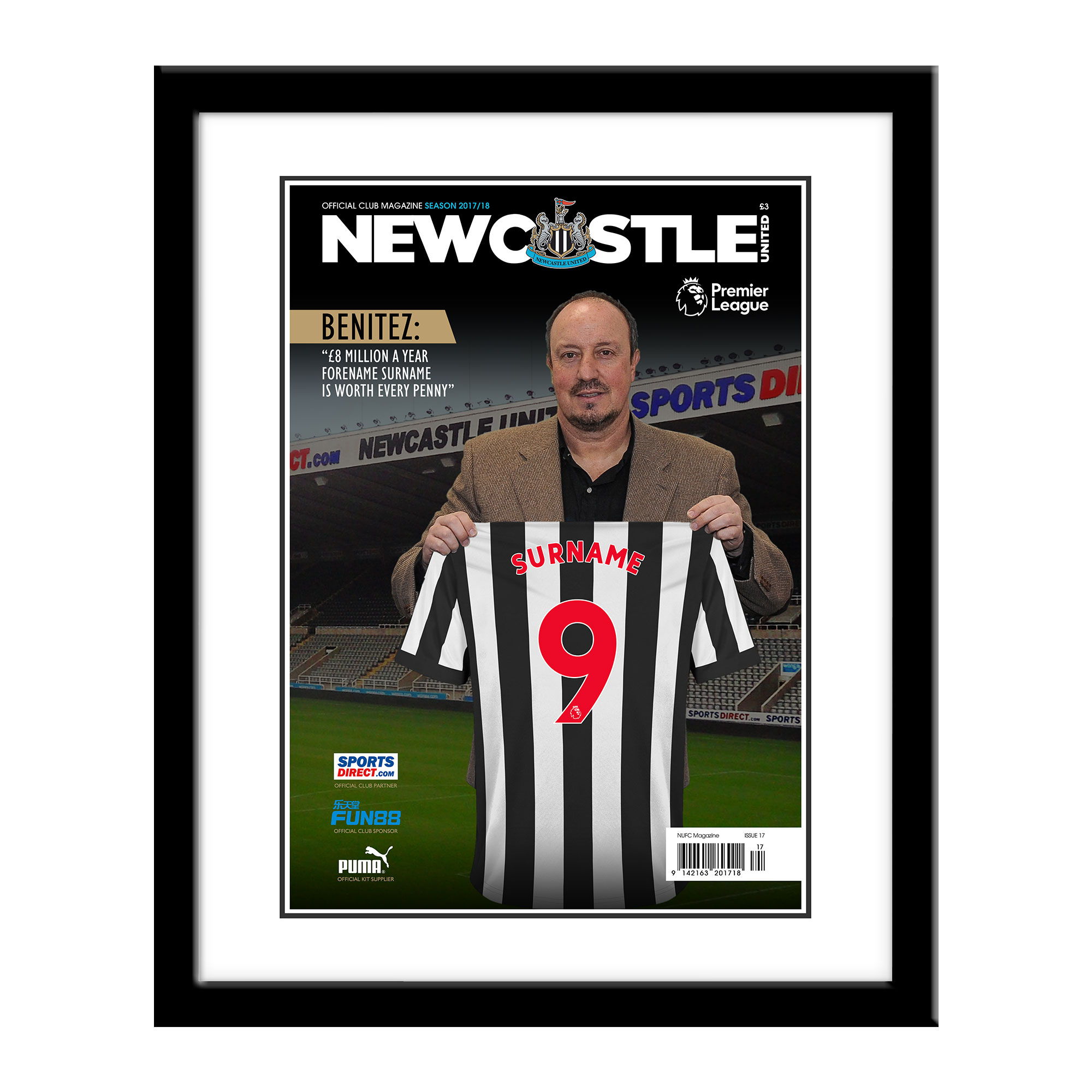 Newcastle United FC Magazine Front Cover Framed Print