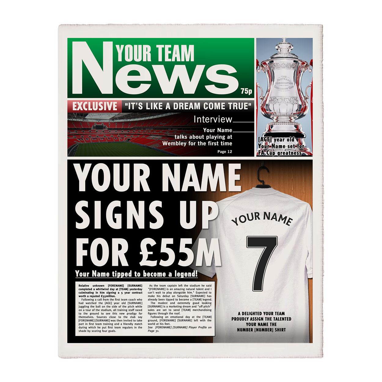 Personalised Football Newspaper Print - Single Page