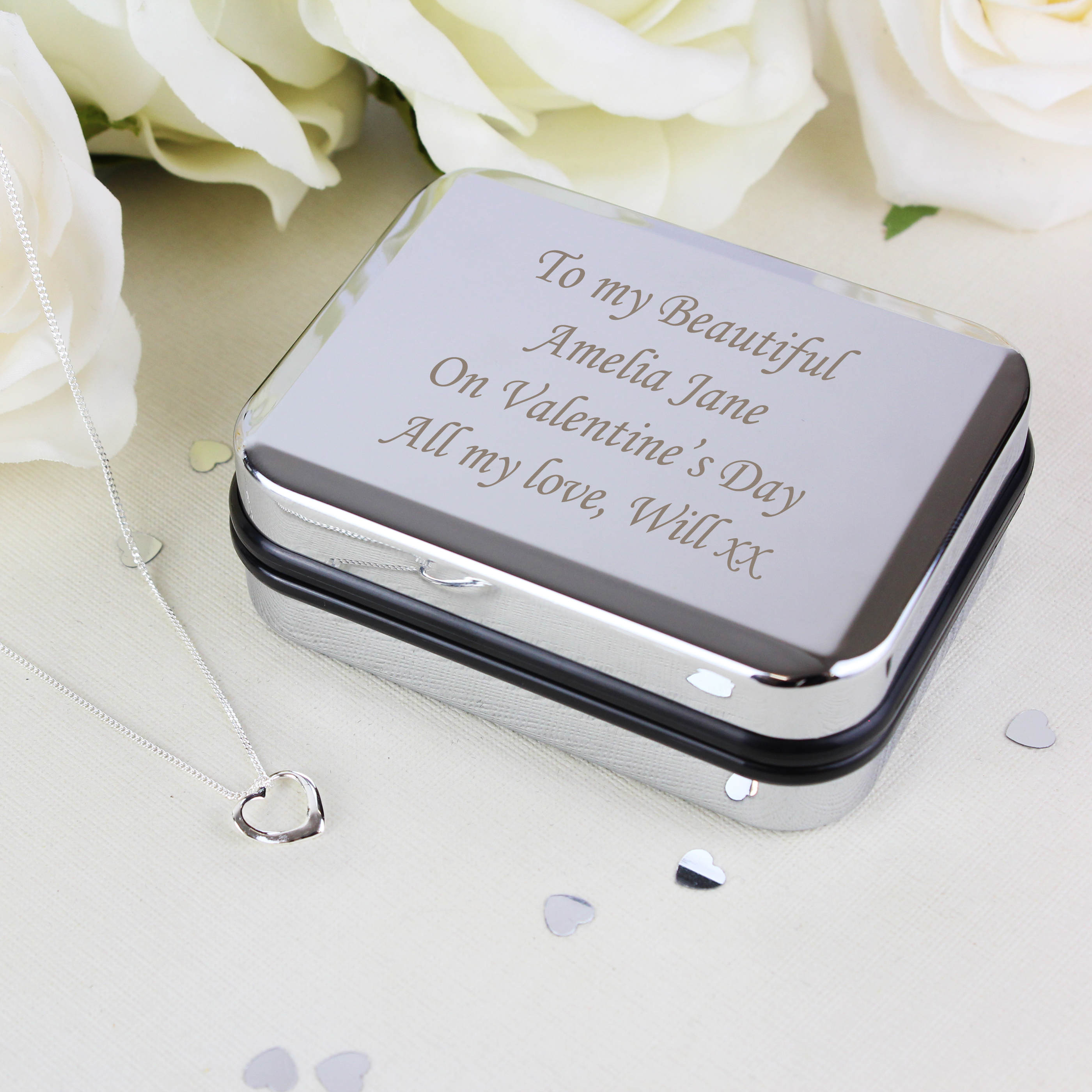 Engraved Necklace Box and Heart Shaped Necklace