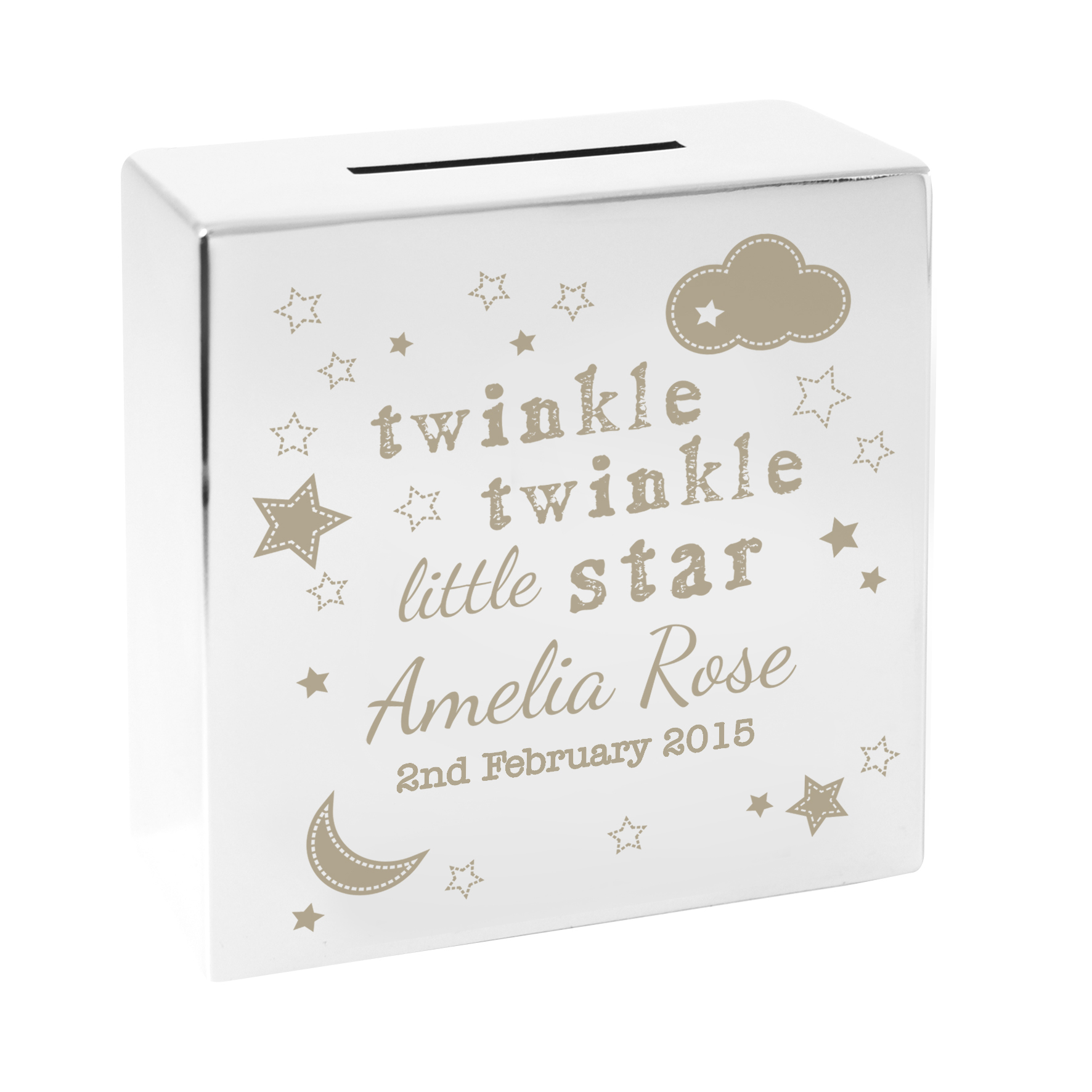 Engraved Twinkle Twinkle Square Money Box