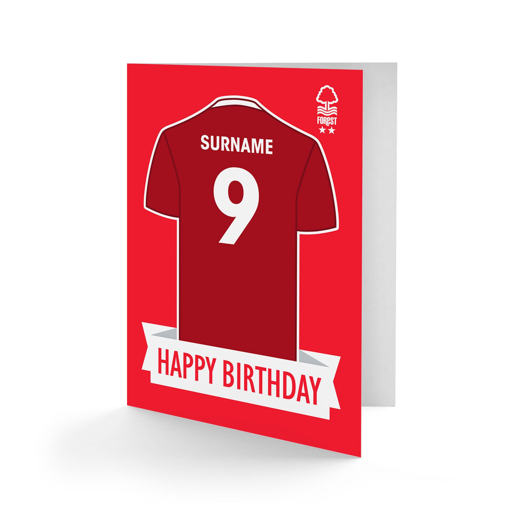 Nottingham Forest FC Shirt Birthday Card