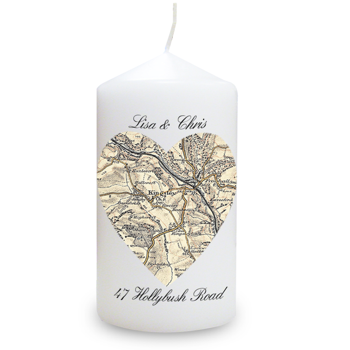 Personalised Heart Postcode Map Candle