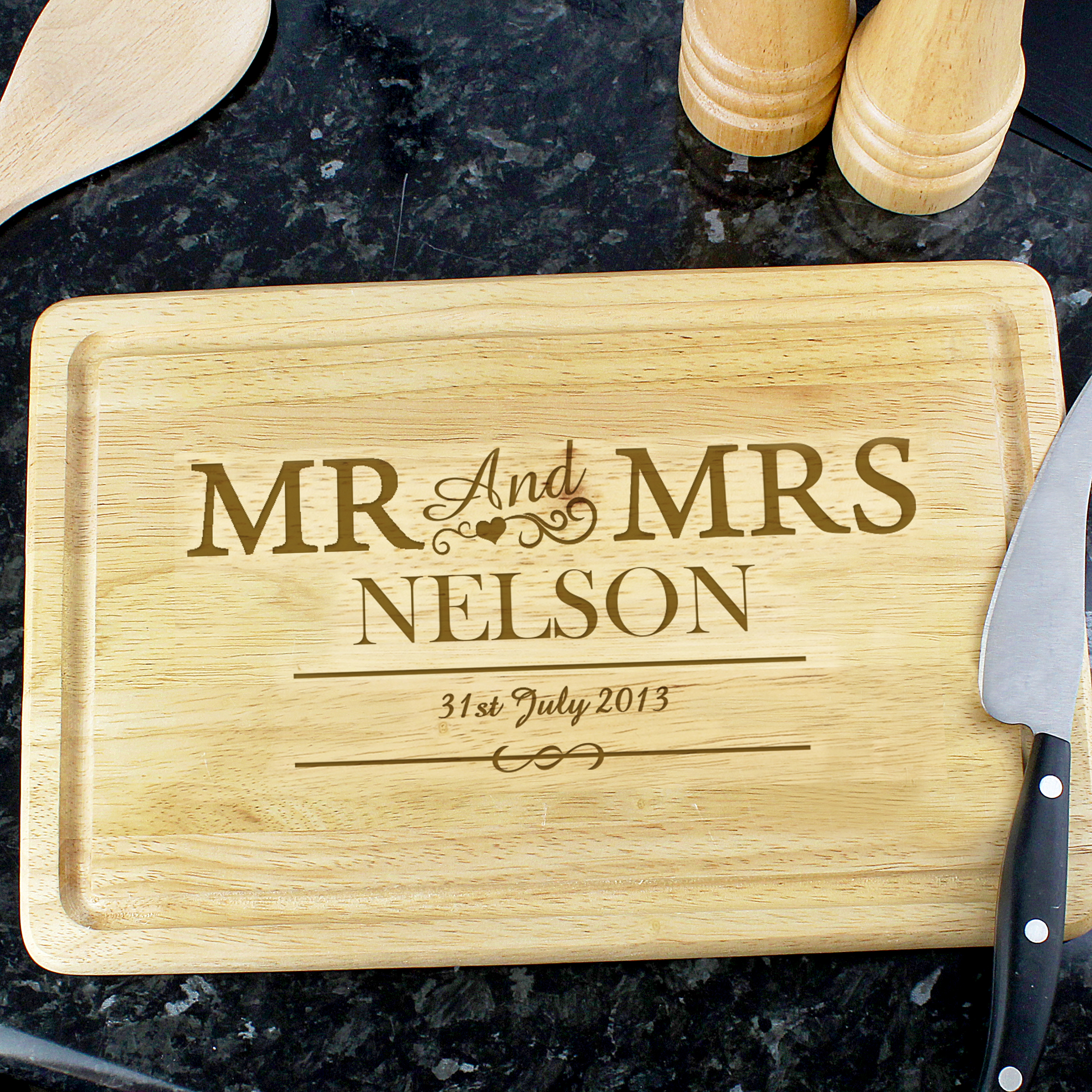 Engraved Mr & Mrs Rectangle Chopping Board