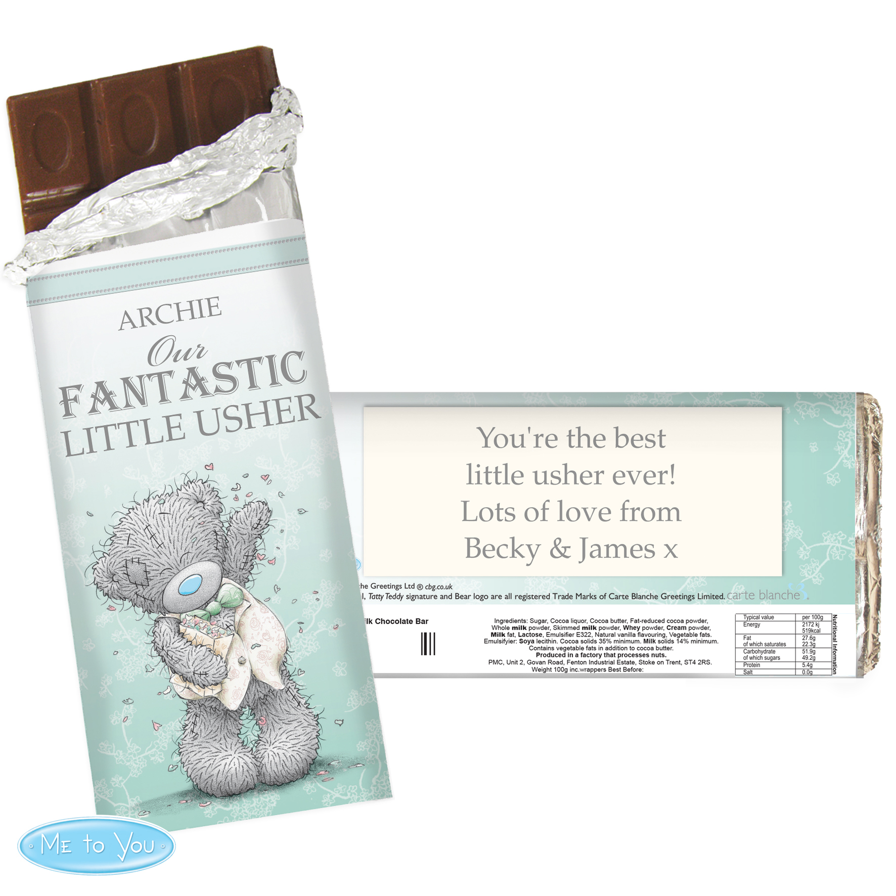 Personalised Me to You Wedding Milk Chocolate Bar - For Him