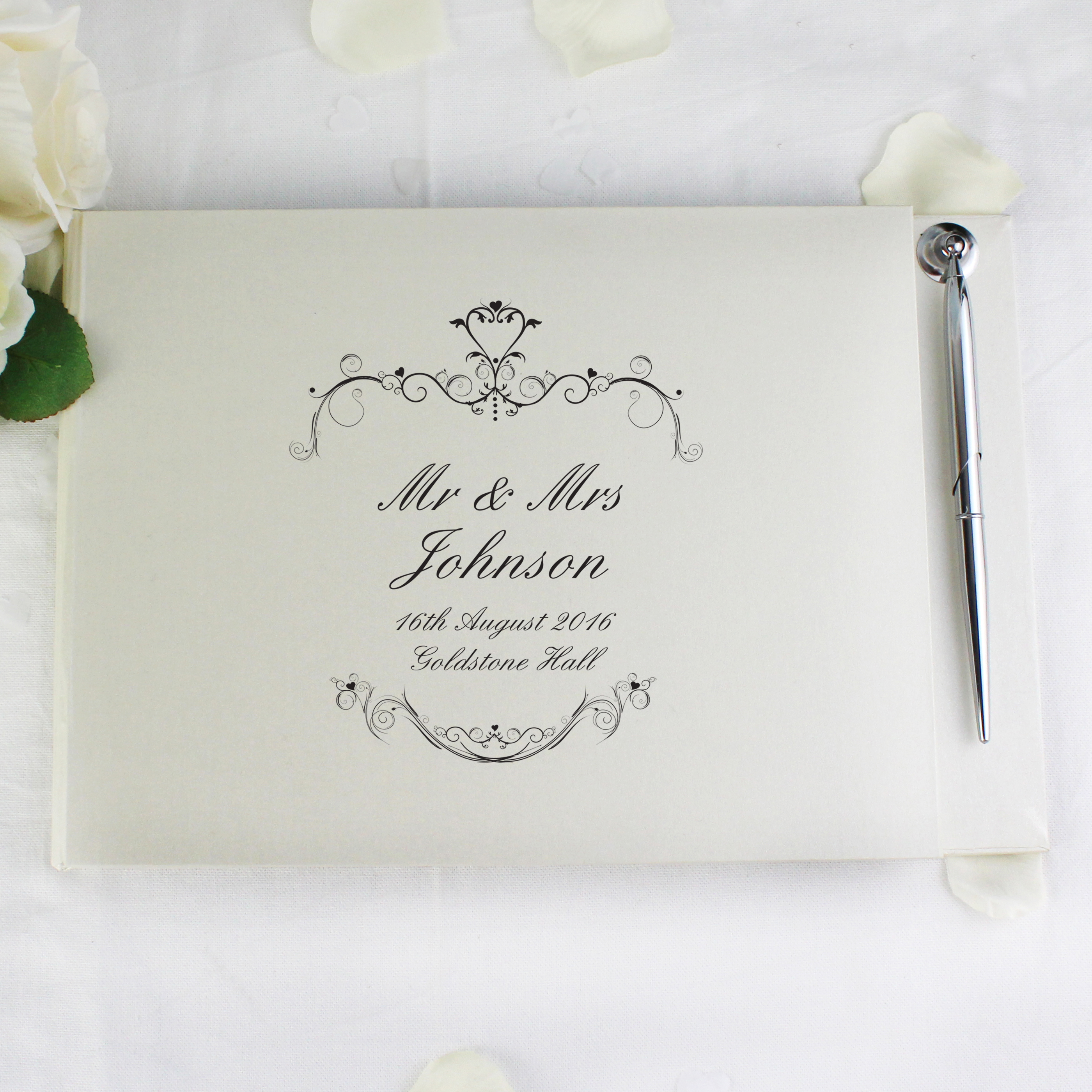 Personalised Ornate Swirl Guest Book & Pen
