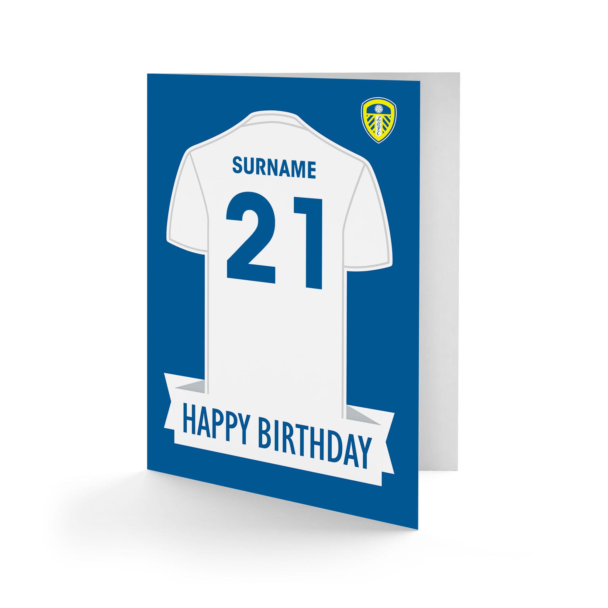Leeds United FC Shirt Birthday Card