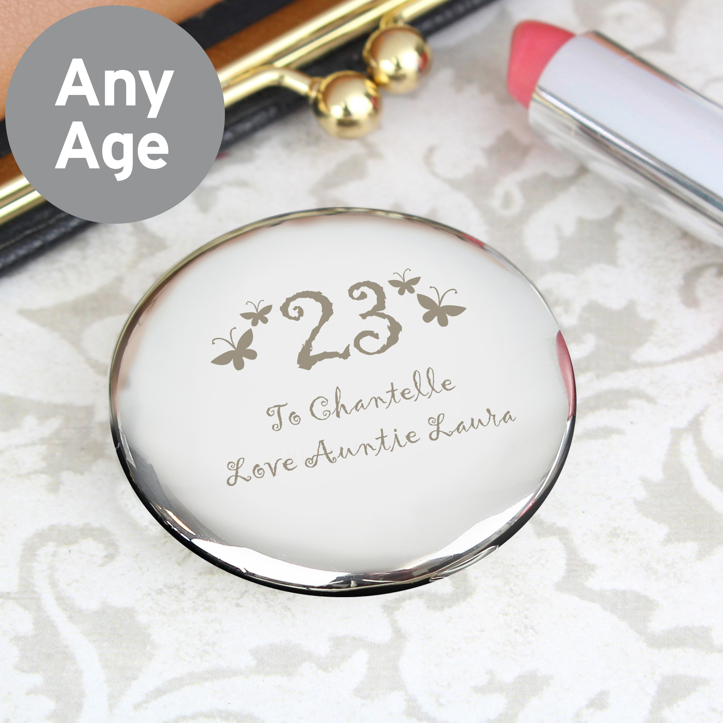 Engraved Birthday Butterfly Motif Oval Compact Mirror