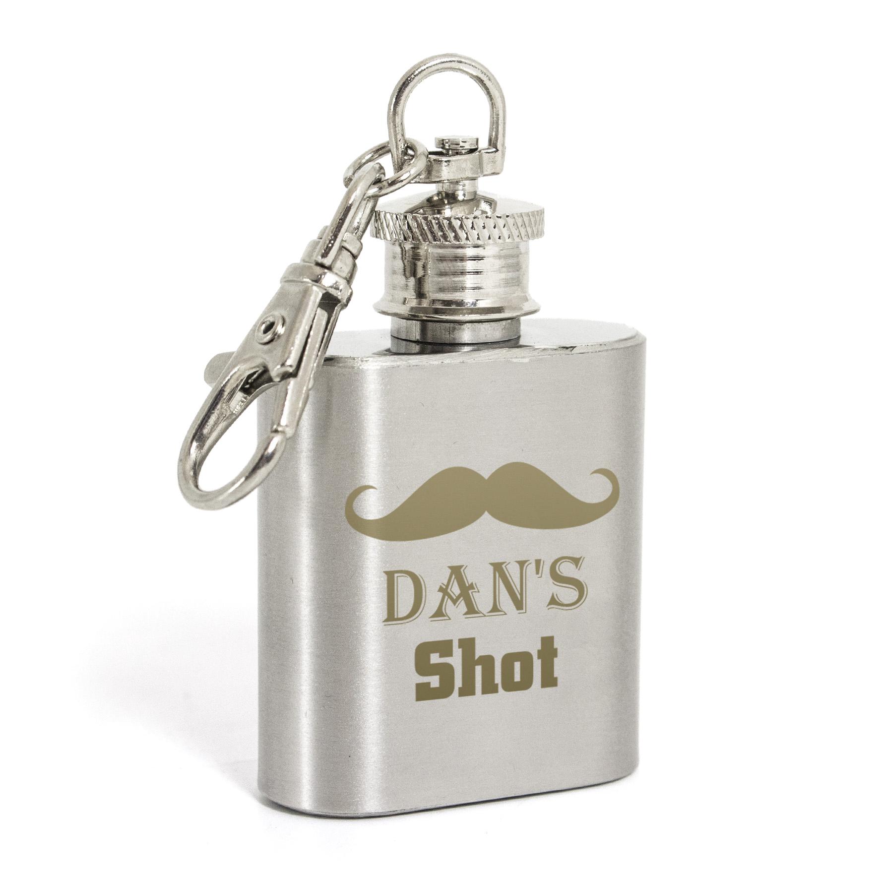 Engraved Moustache 1oz Hip Flask Key Ring