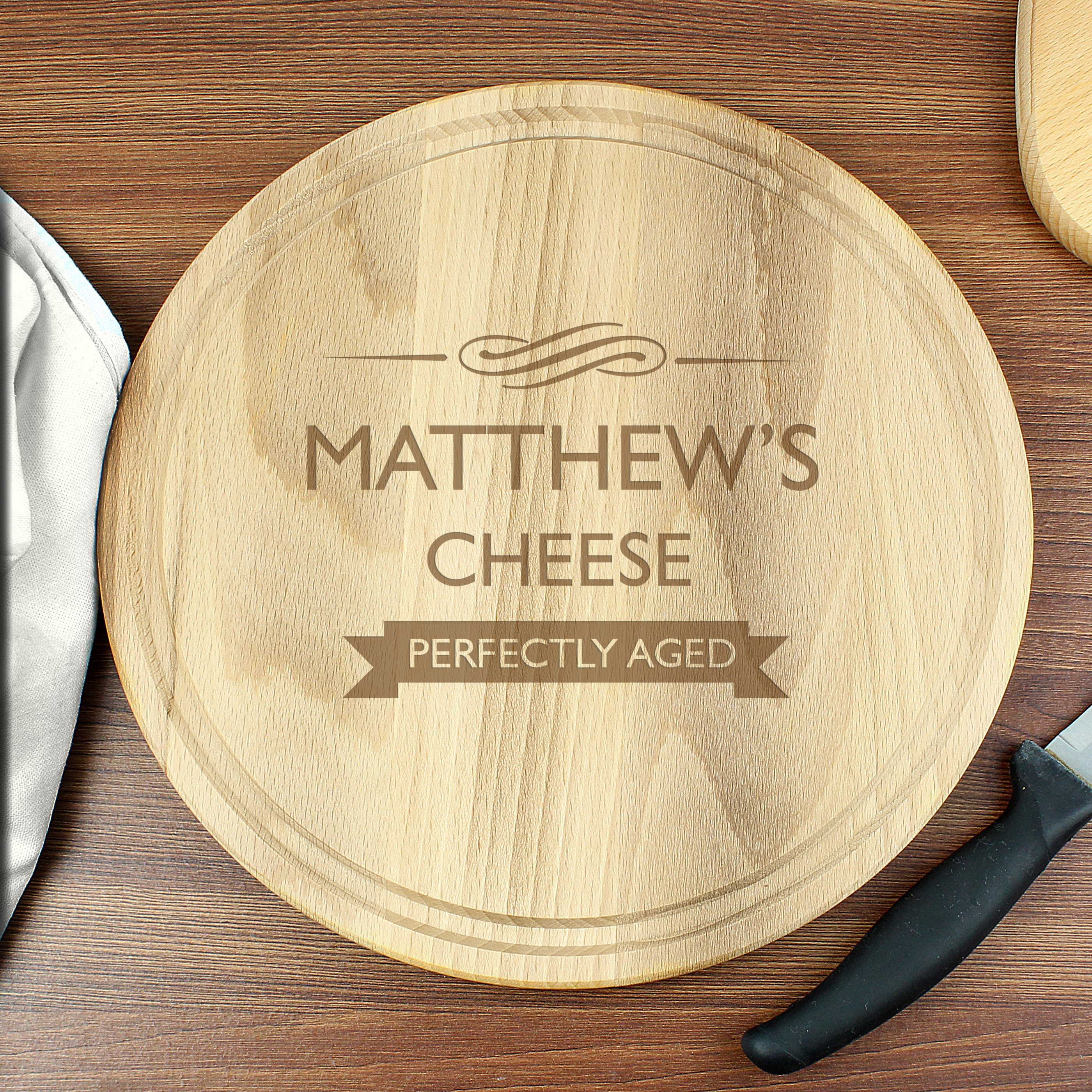 Engraved Perfectly Aged Round Chopping Board