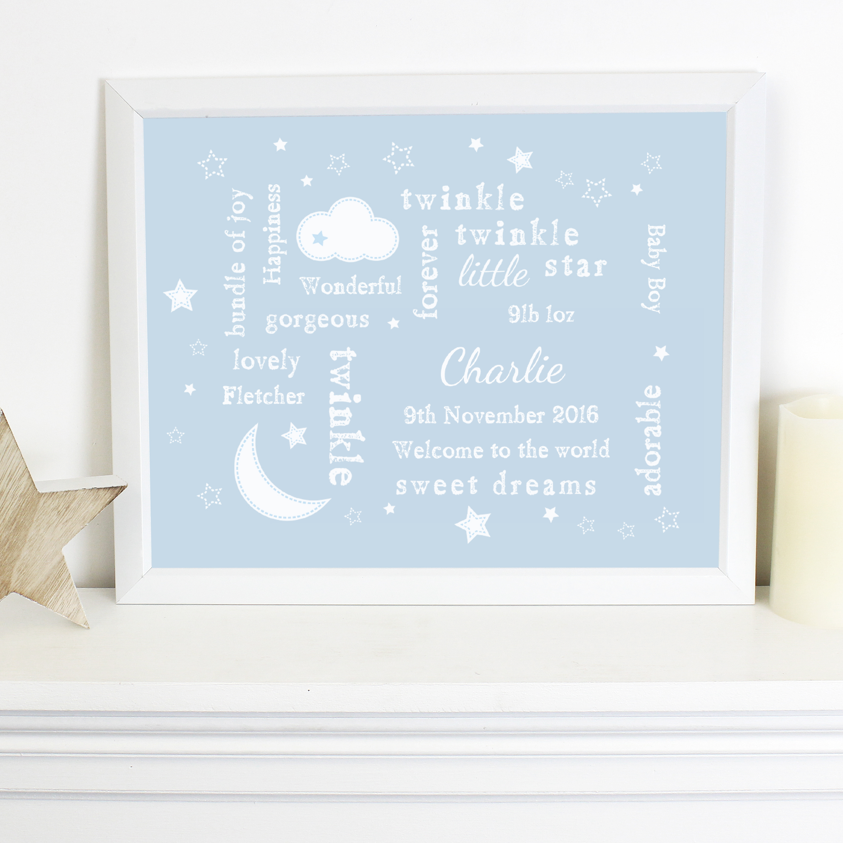Personalised Twinkle Twinkle Typography Blue Poster Frame